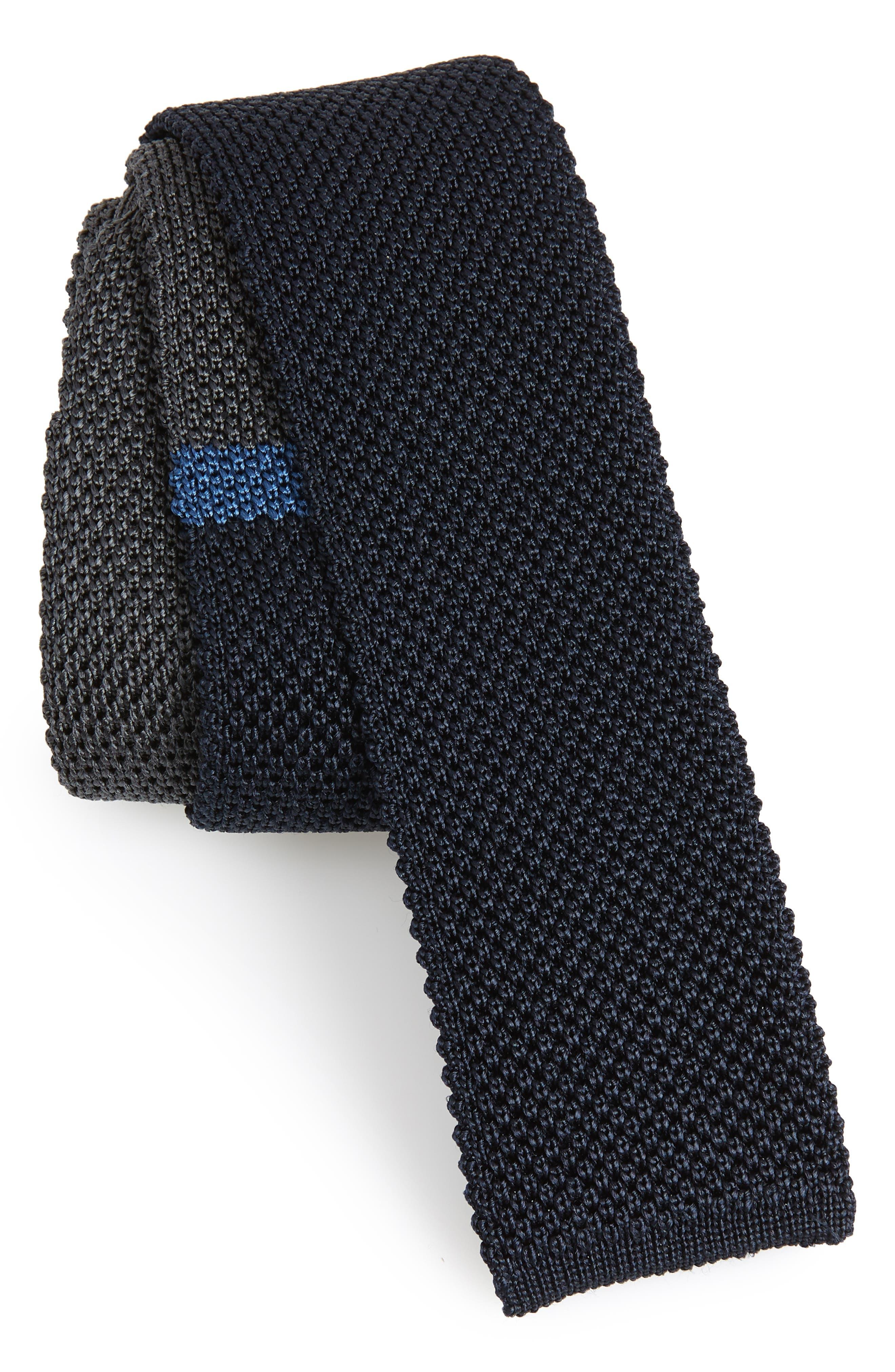 Egeo Knit Silk Tie,                             Main thumbnail 1, color,                             Blue/Grey