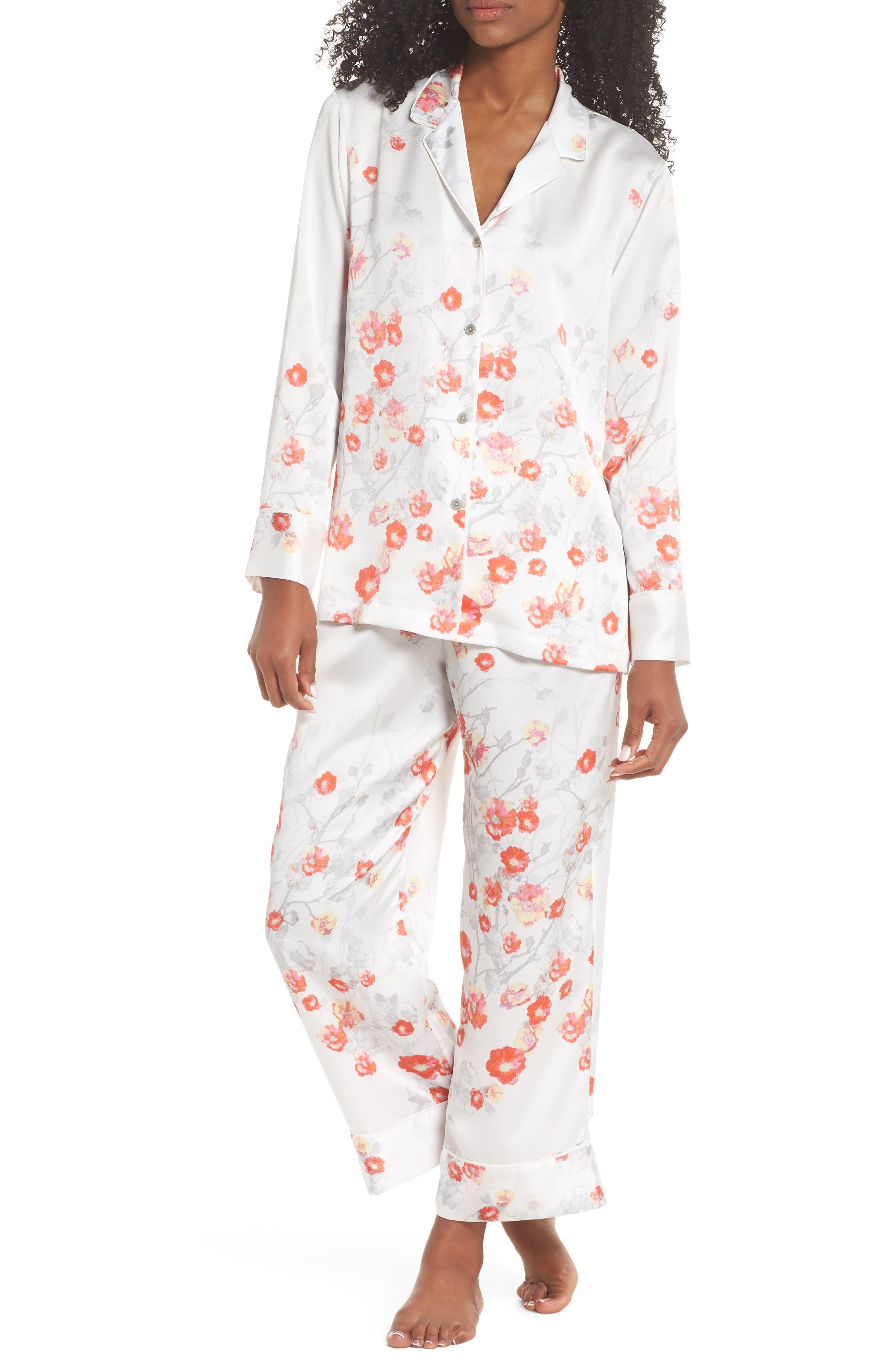 Blossom Print Satin Pajamas,                         Main,                         color, White/ Multi