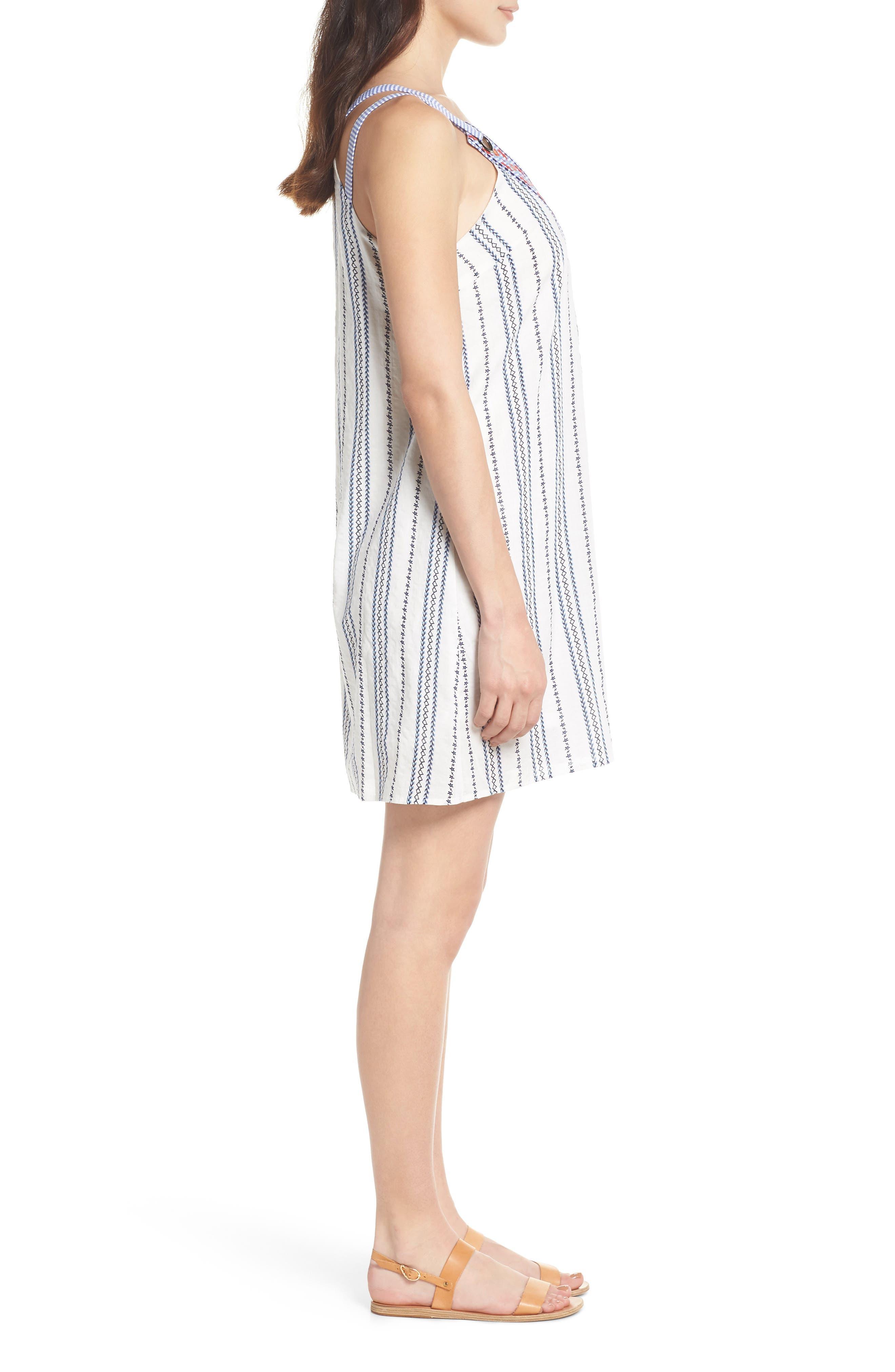 Stripe & Embroidery Shift Dress,                             Alternate thumbnail 3, color,                             White