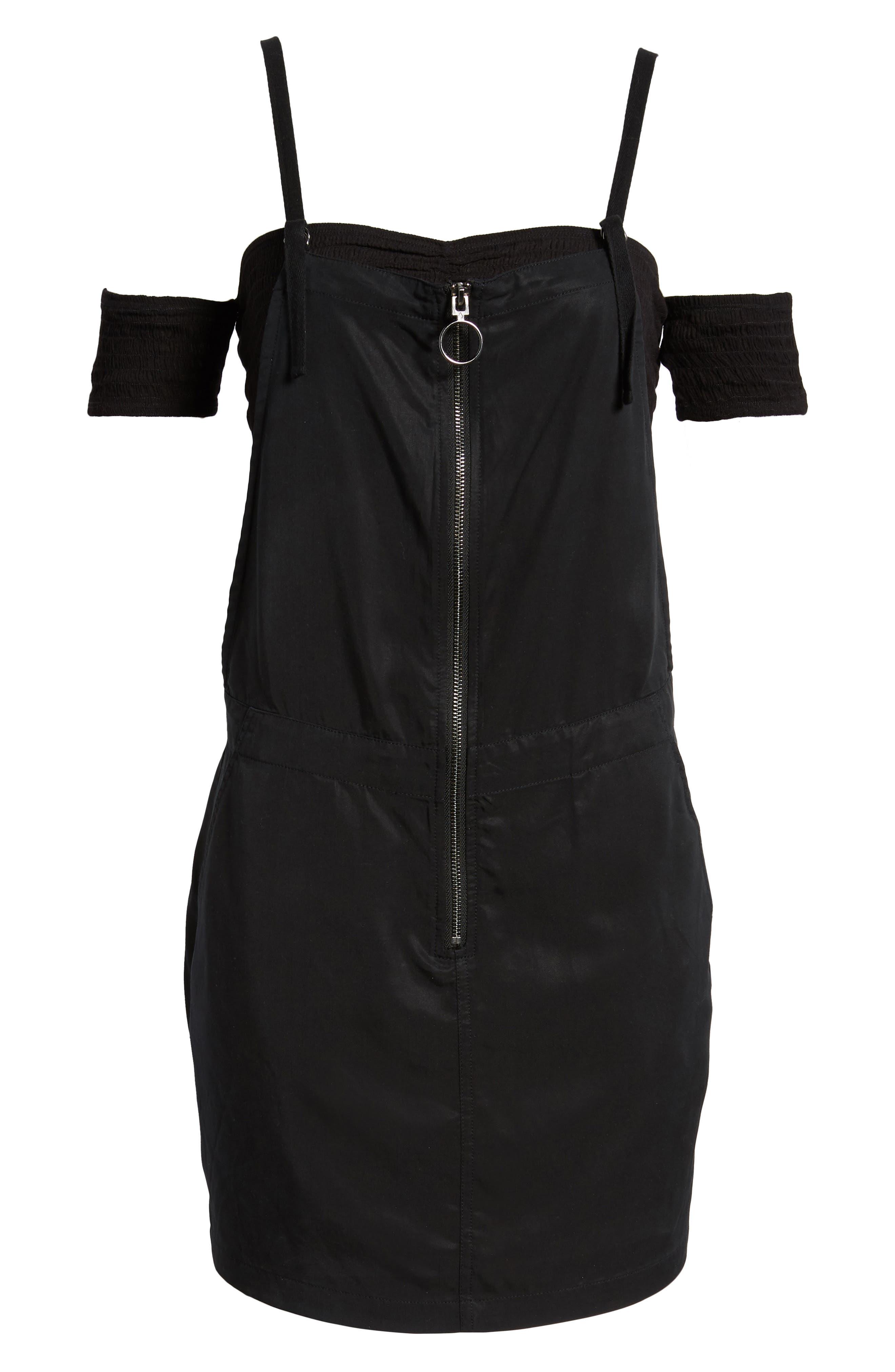 In Tents Pinafore Dress,                             Alternate thumbnail 6, color,                             Black