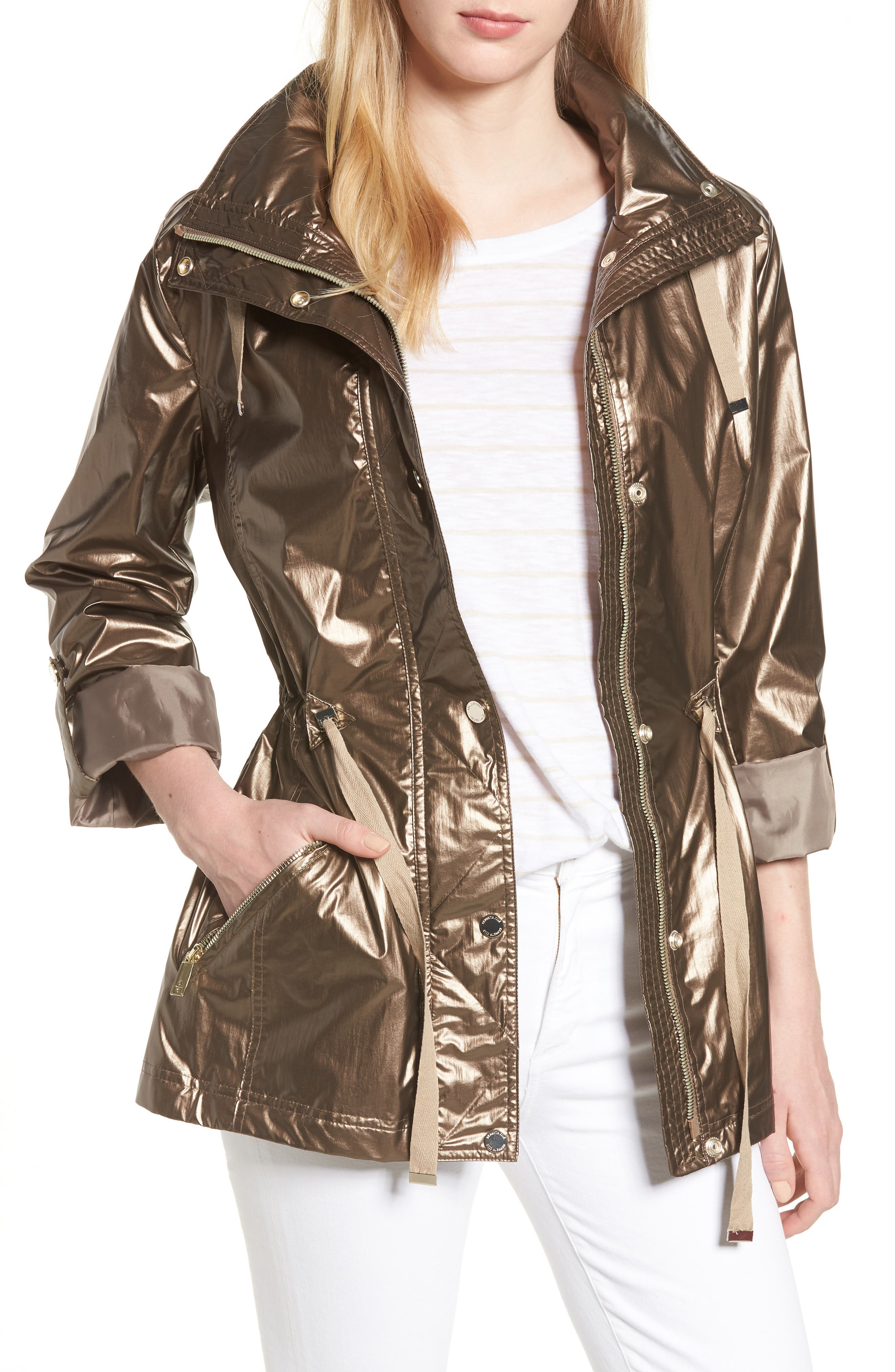 Kenneth Cole New York Metallic Hooded Jacket