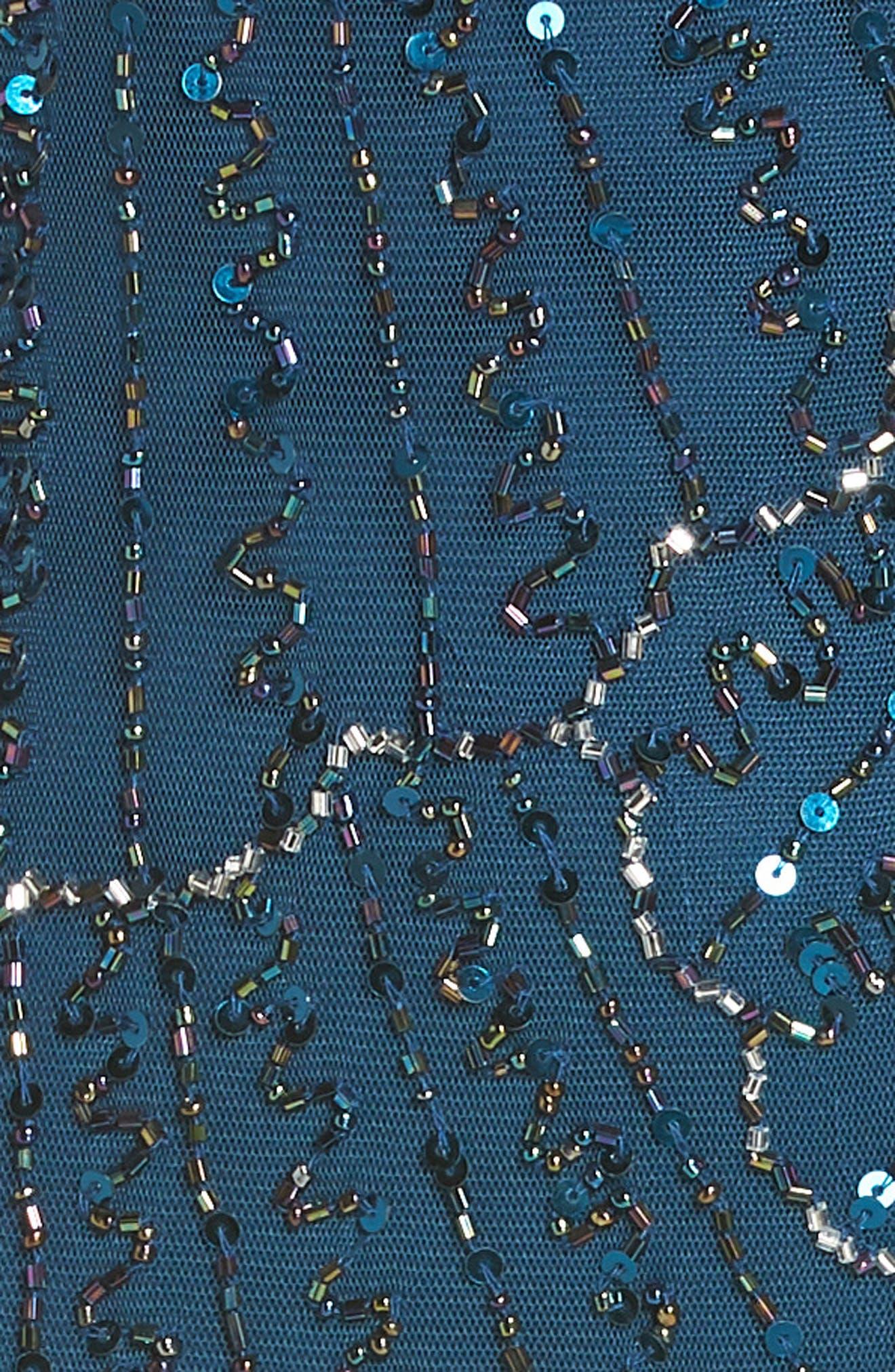 Beaded Sheath Dress,                             Alternate thumbnail 5, color,                             Peacock