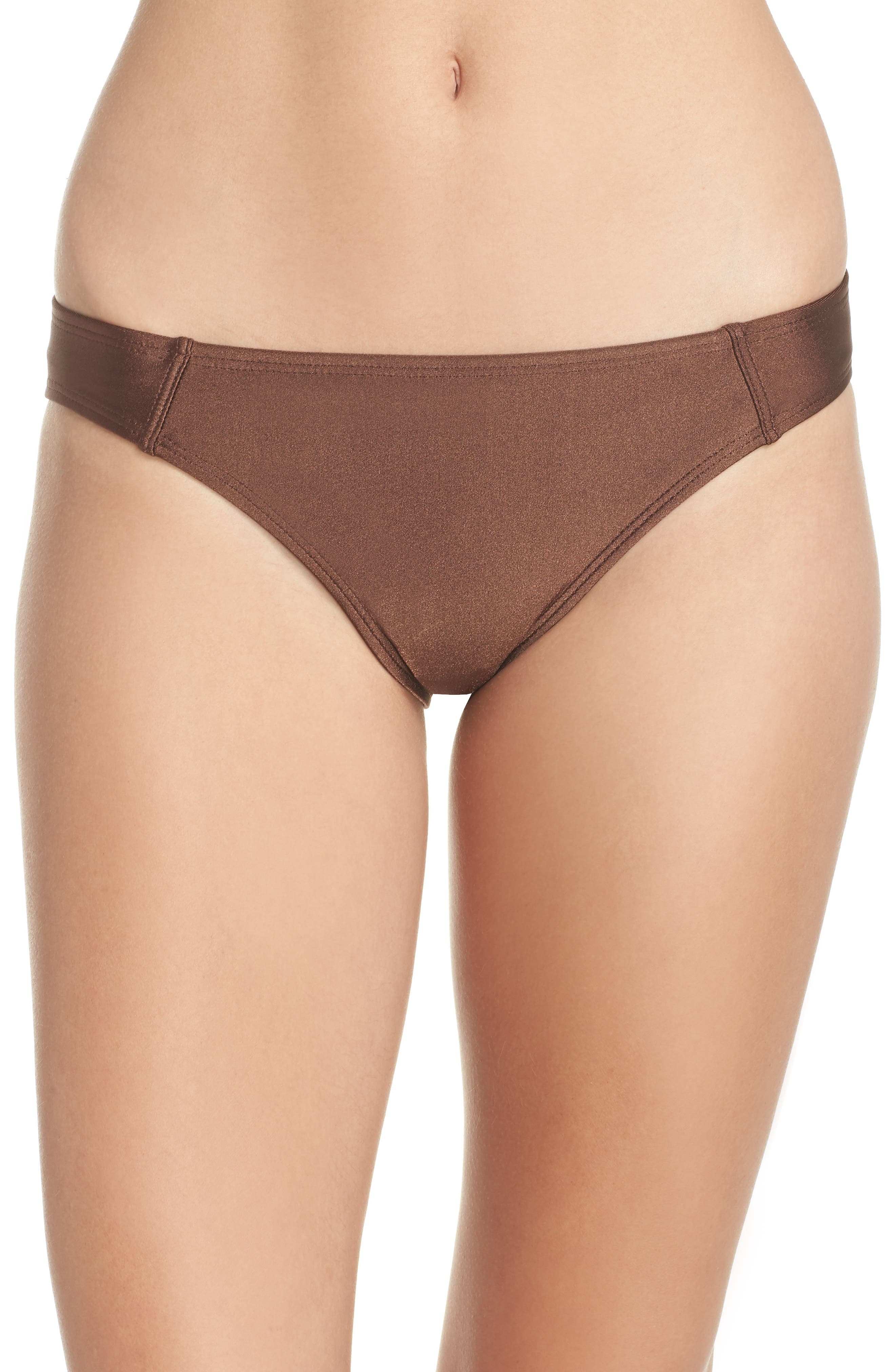 Banded Hipster Bikini Bottoms,                         Main,                         color, Chocolate Glint