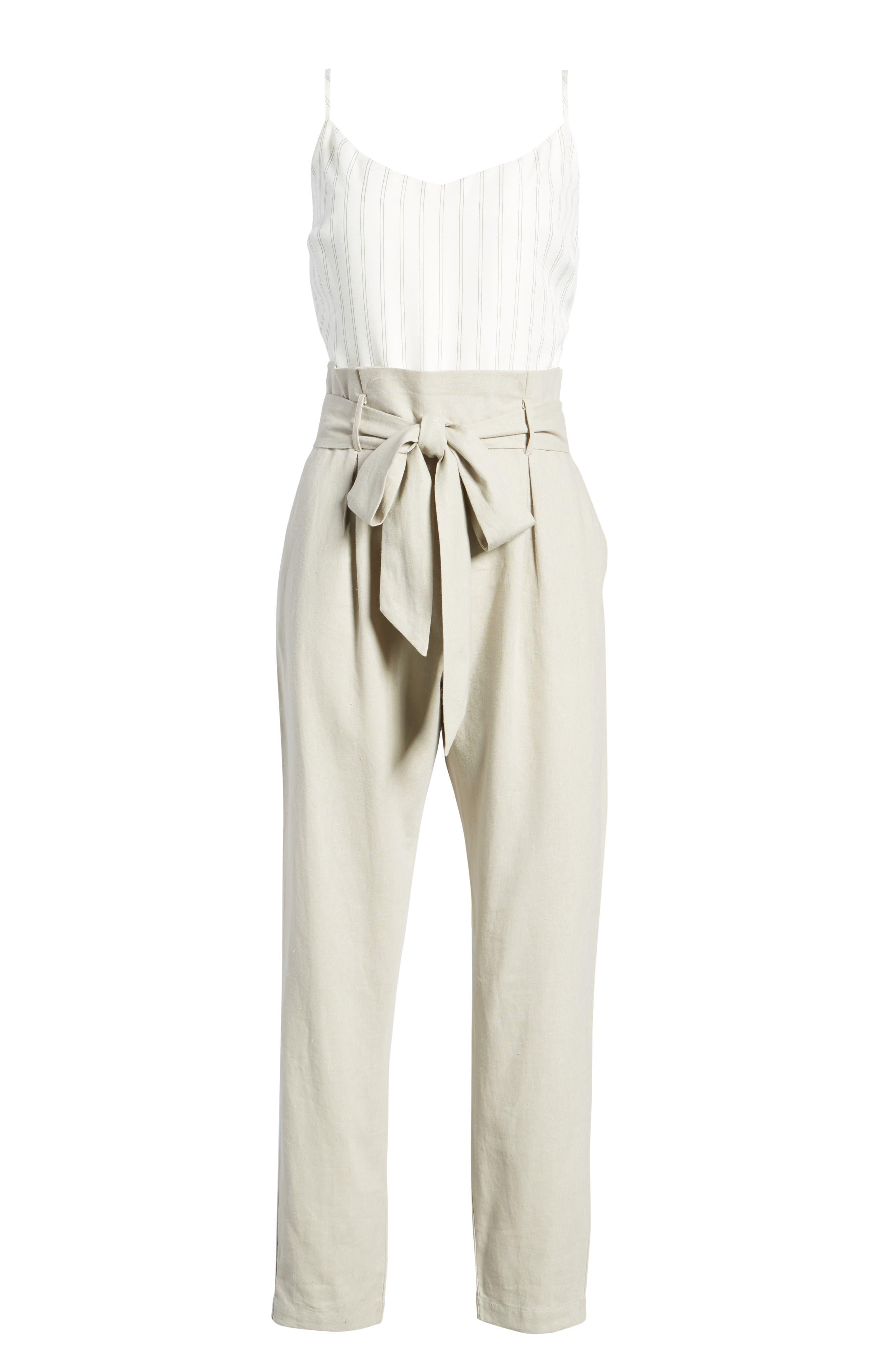 Tie Waist Crop Jumpsuit,                             Alternate thumbnail 7, color,                             Beige Morn Stripe