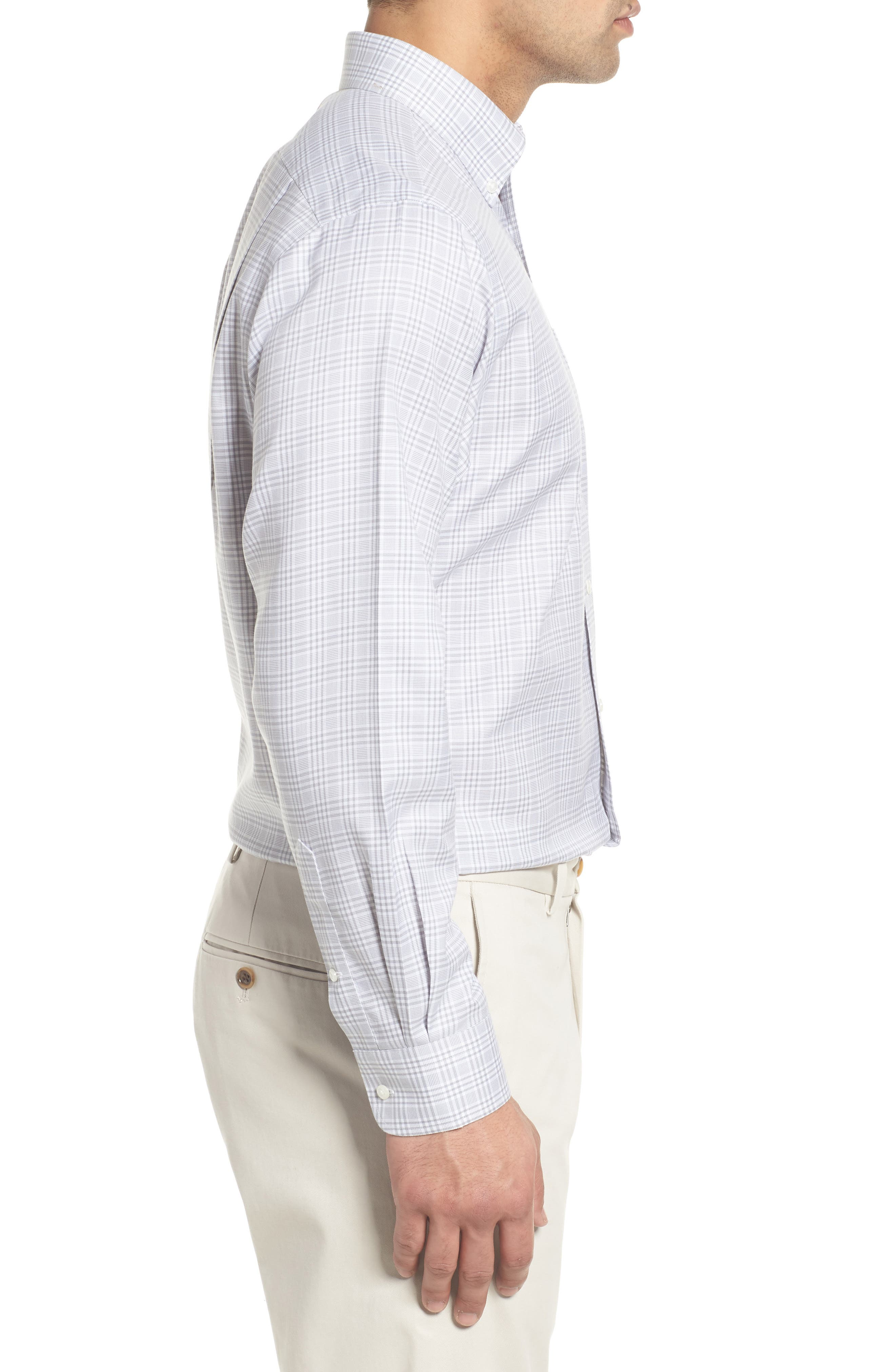 Smartcare<sup>™</sup> Traditional Fit Plaid Dress Shirt,                             Alternate thumbnail 4, color,                             Grey Sleet