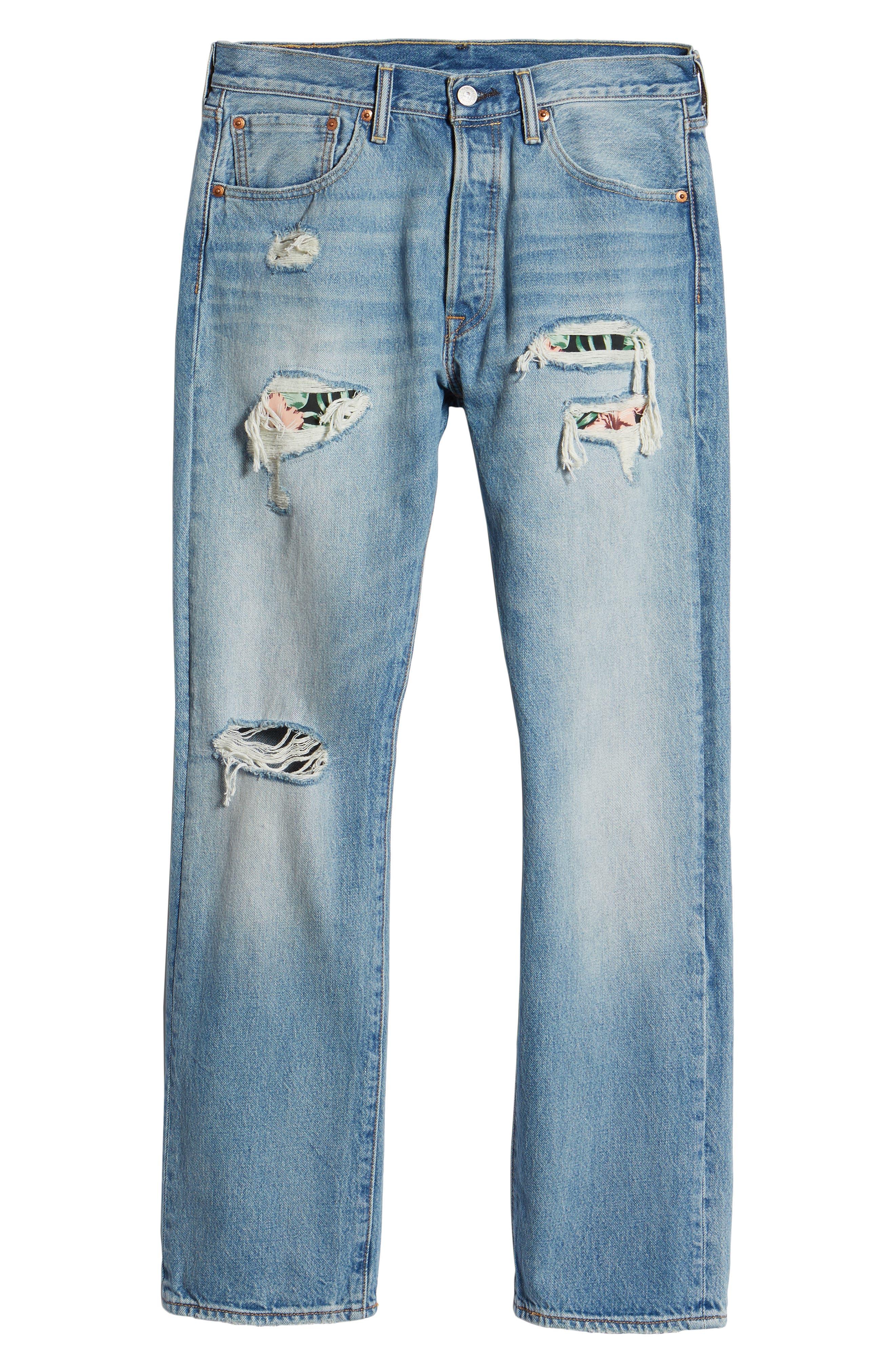 501<sup>®</sup> Original Straight Leg Jeans,                             Alternate thumbnail 6, color,                             Pieced Hawaiian Indigo