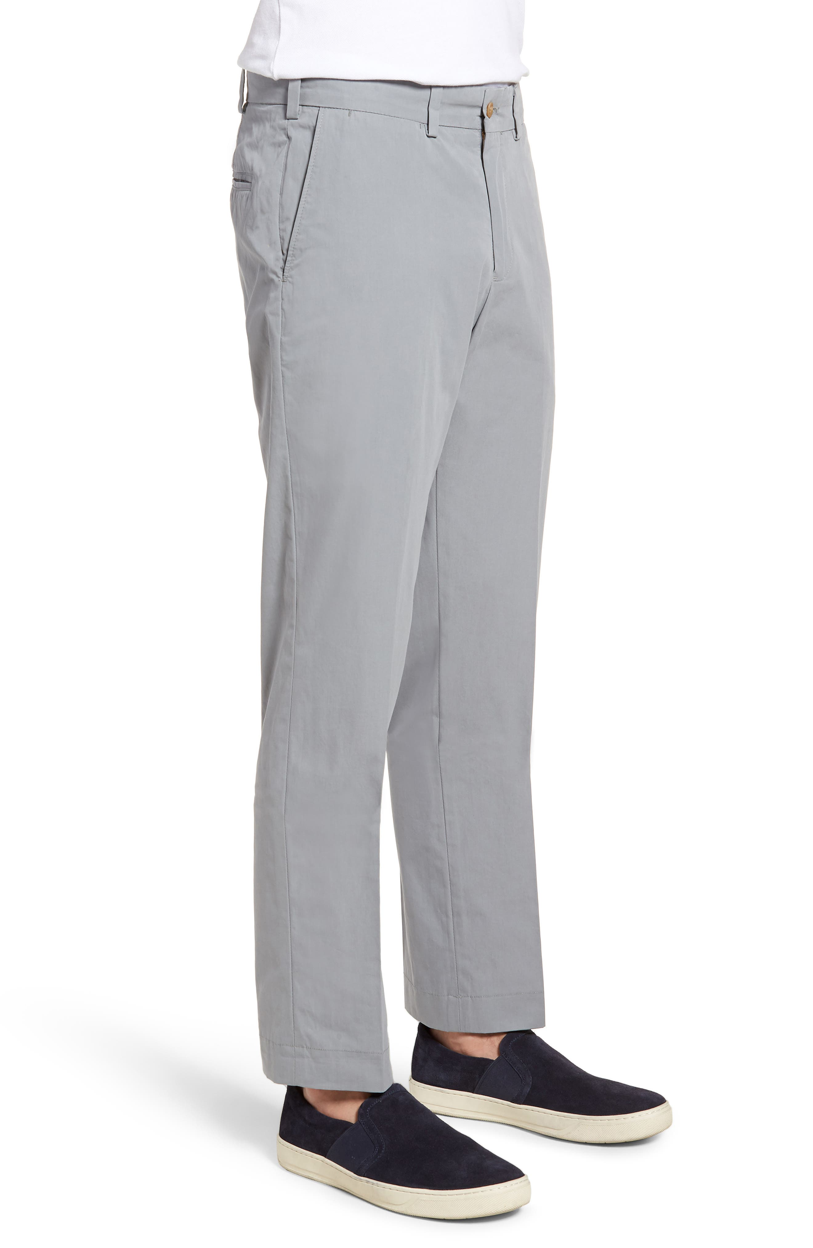 M3 Straight Fit Flat Front Tropical Poplin Pants,                             Alternate thumbnail 3, color,                             Nickel