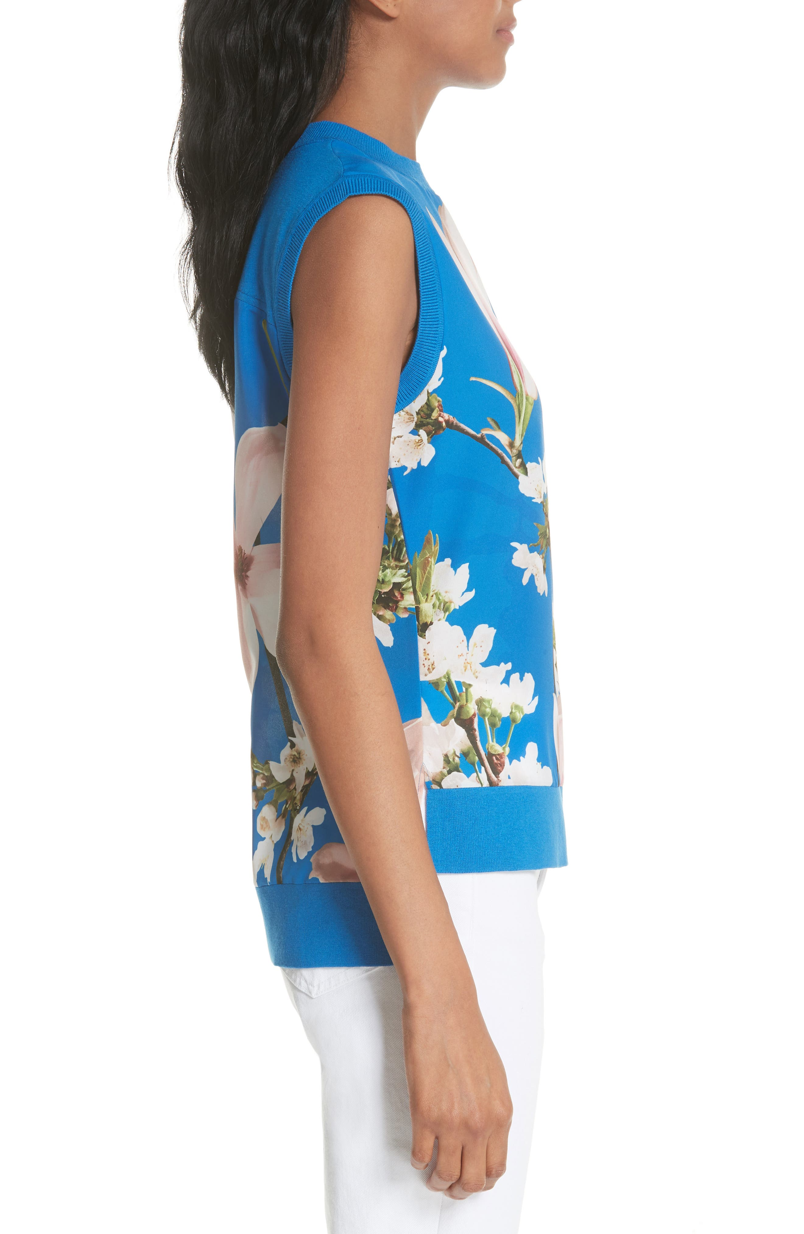 Harmony Floral Mix Media Sleeveless Sweater,                             Alternate thumbnail 3, color,                             Bright Blue