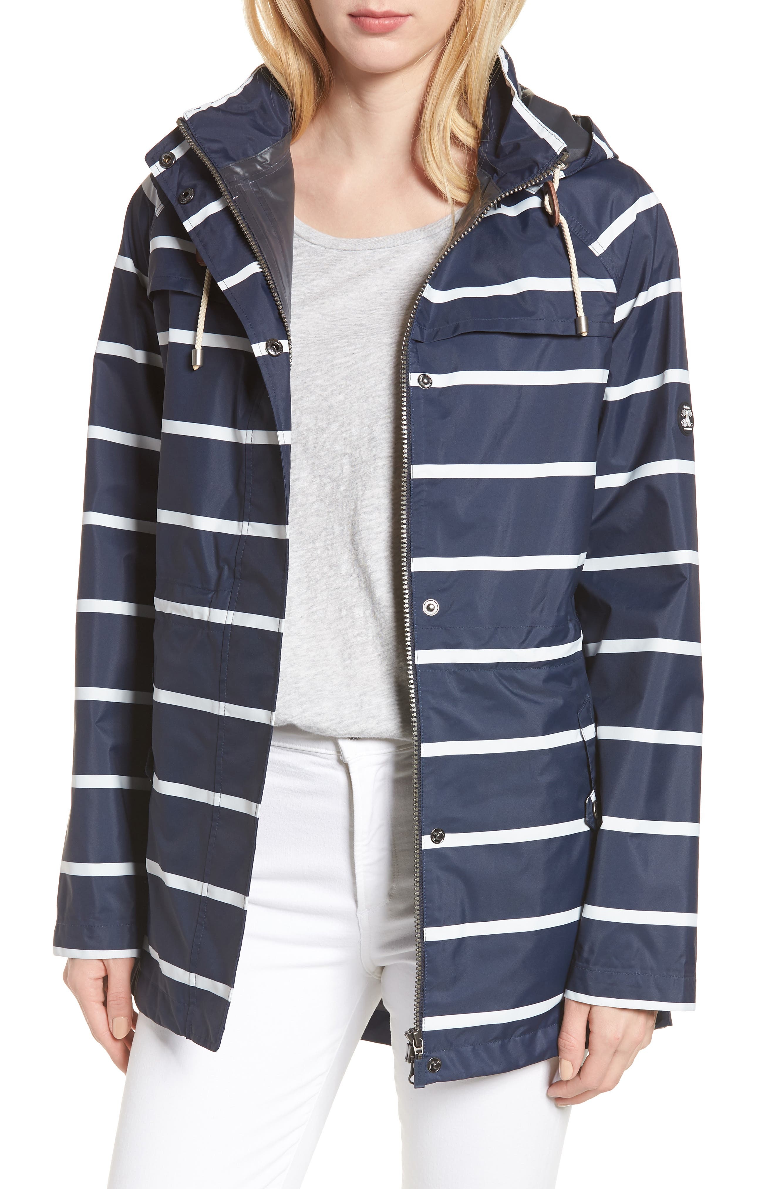 Holliwell Stripe Hooded Jacket,                         Main,                         color, Navy/ White Stripe
