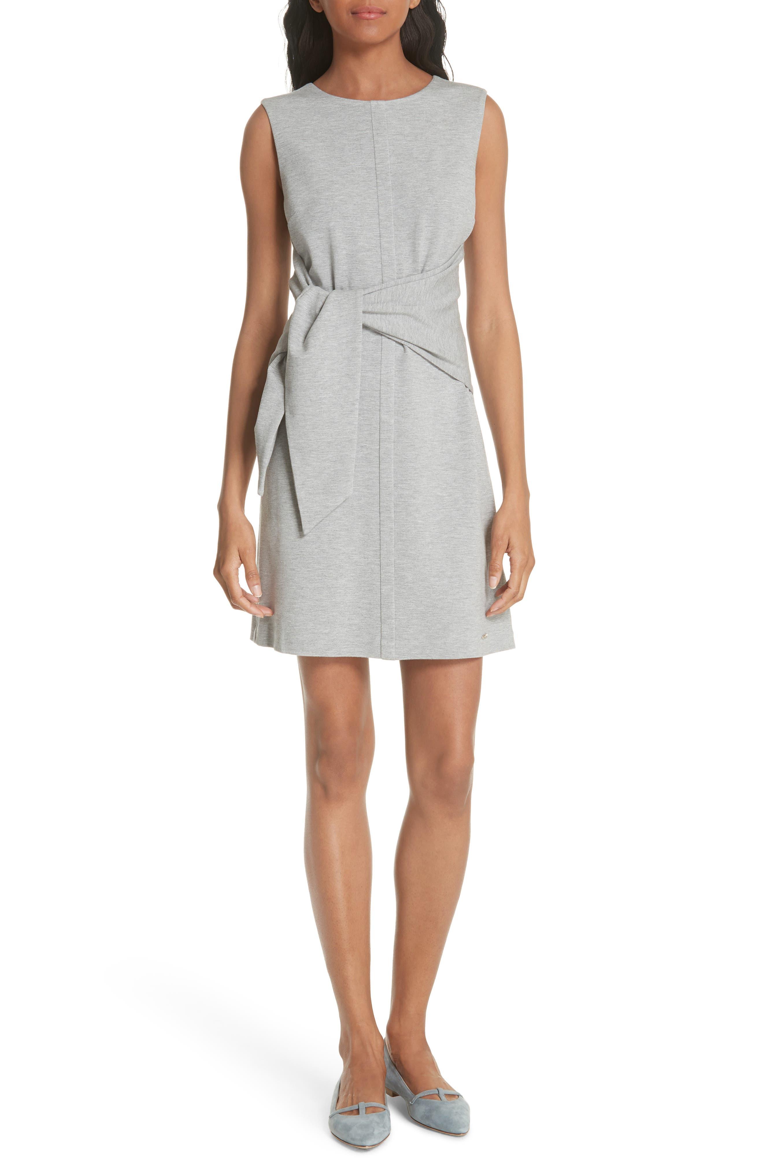 Evalina Tie Front Dress,                             Main thumbnail 1, color,                             Grey Marl