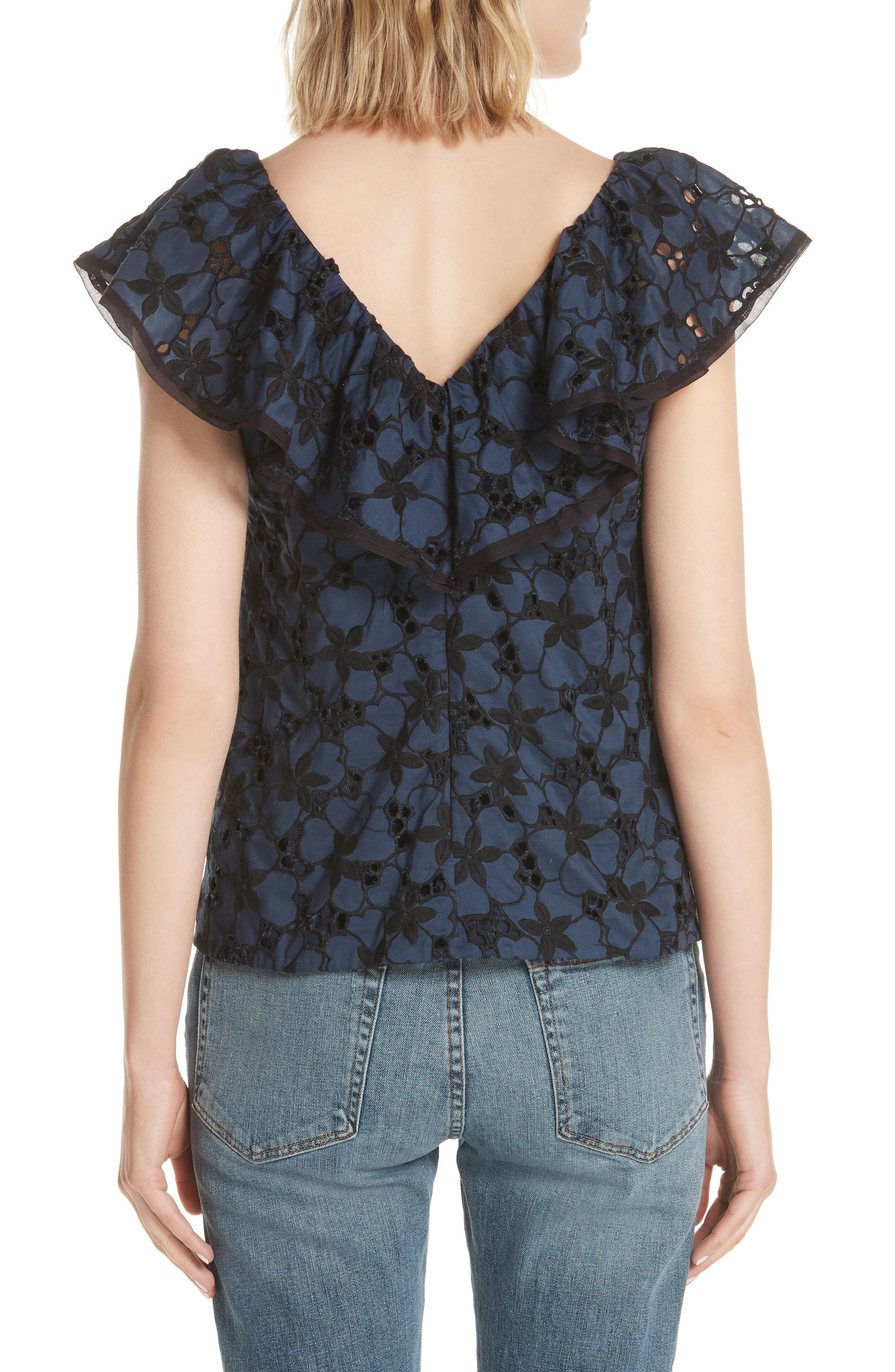 Adriana Embroidered Ruffle Top,                             Alternate thumbnail 2, color,                             Blueberry