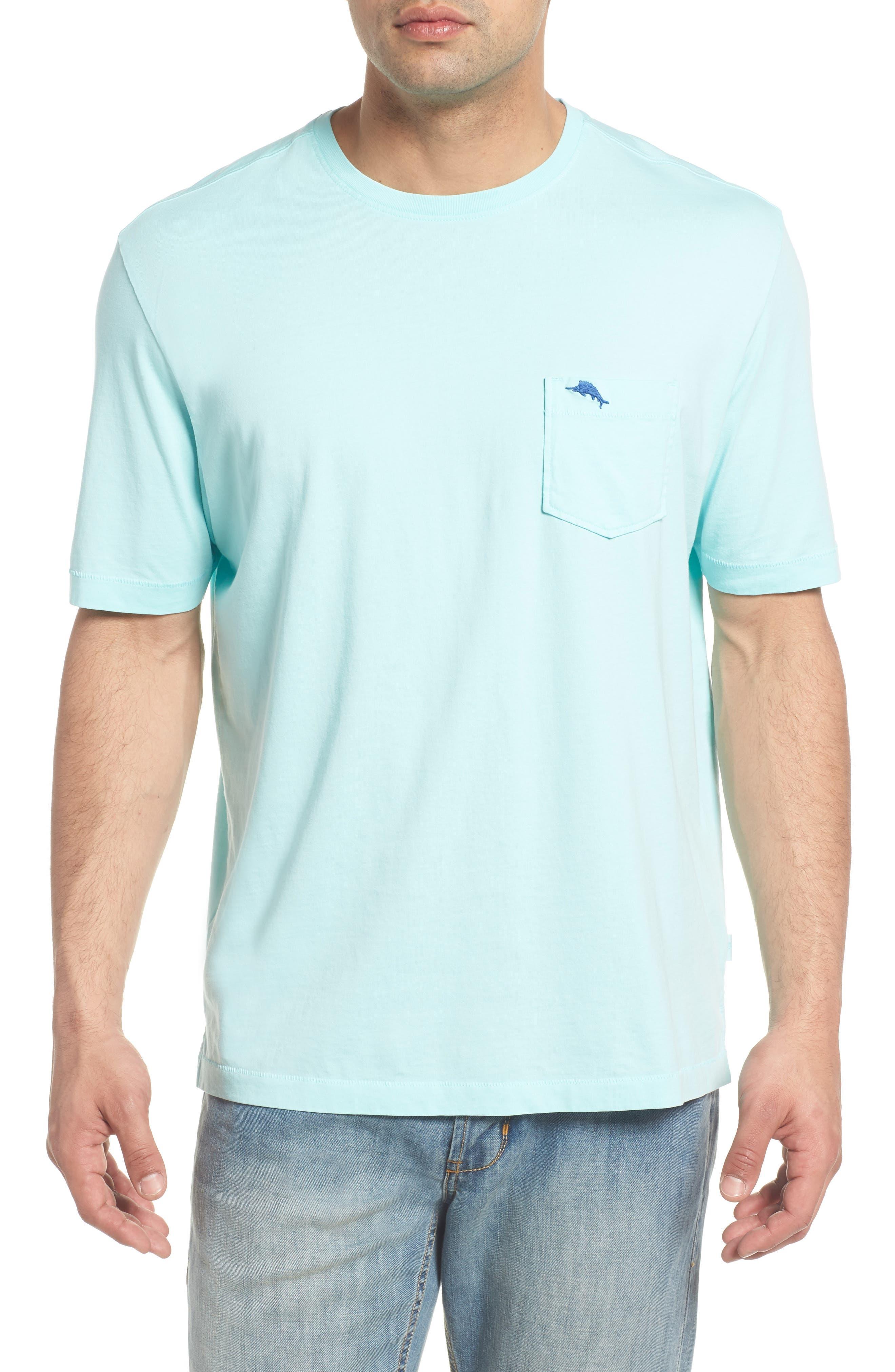 'New Bali Sky' Original Fit Crewneck Pocket T-Shirt,                             Main thumbnail 1, color,                             Aqua Mist
