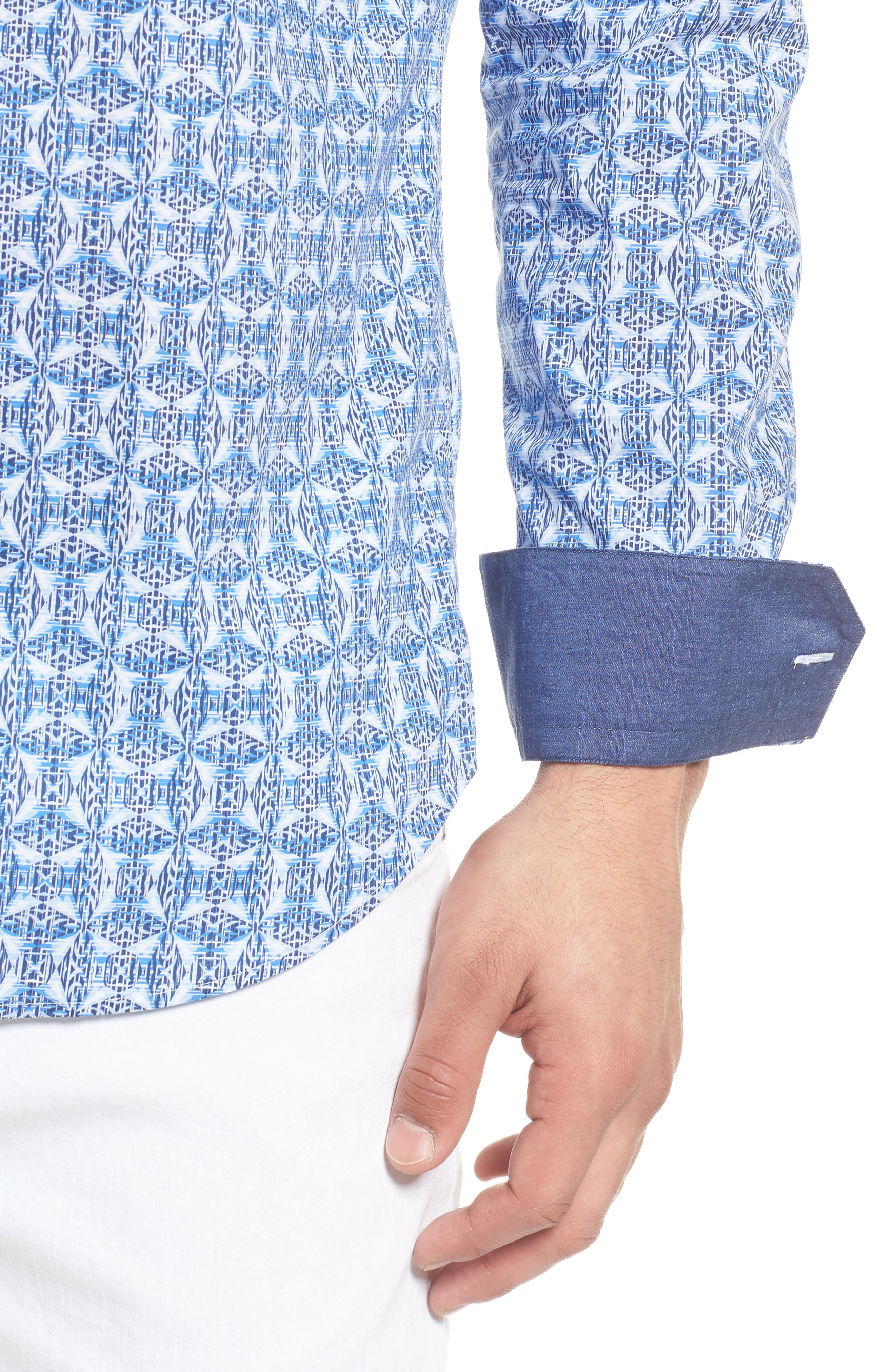 Shaped Fit Abstract Print Sport Shirt,                             Alternate thumbnail 2, color,                             Classic Blue