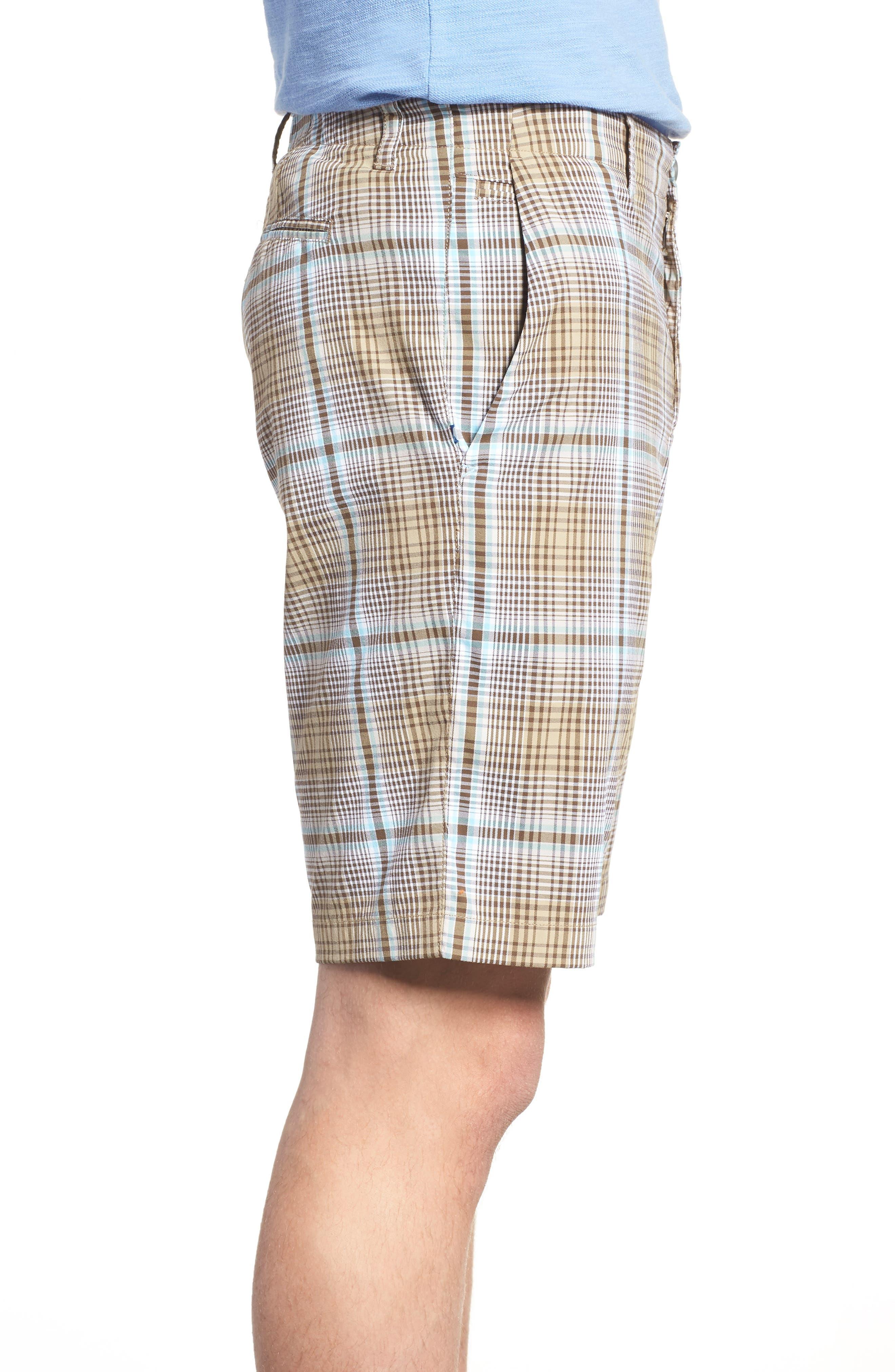 Playa Tech Classic Fit Plaid Shorts,                             Alternate thumbnail 3, color,                             Khaki Sands