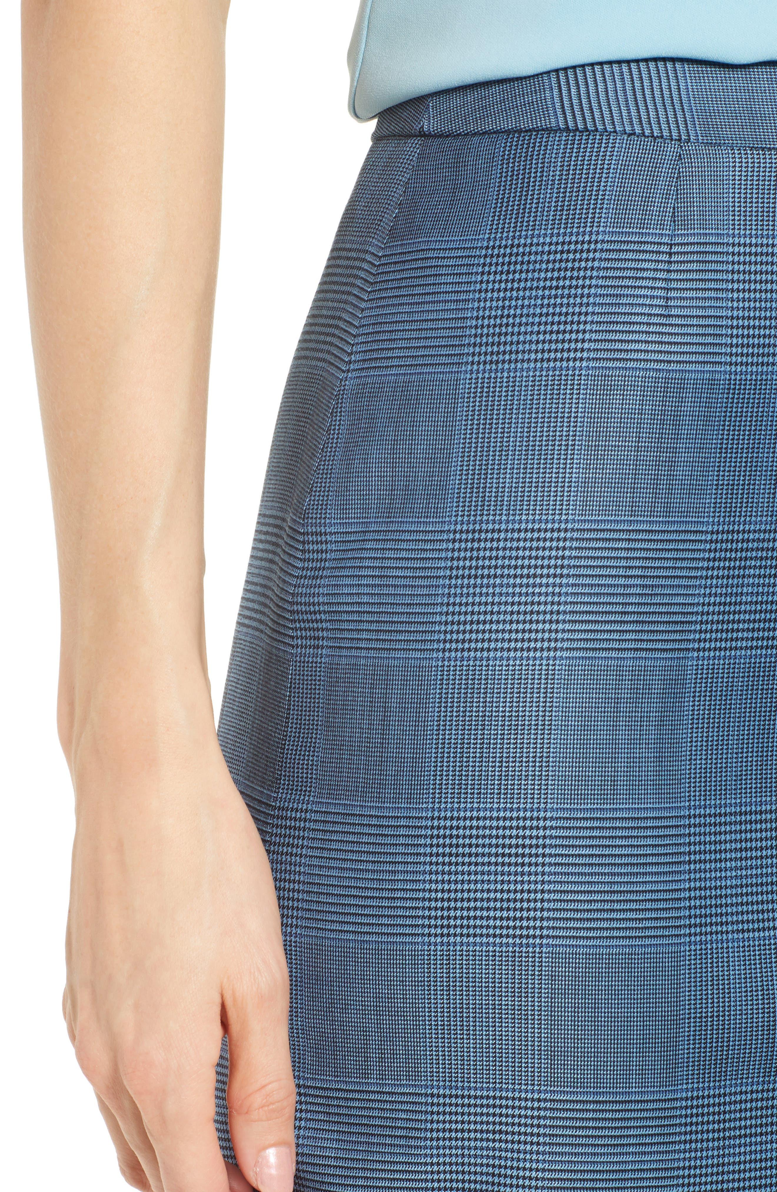 Vimena Glencheck Stretch Wool Pencil Skirt,                             Alternate thumbnail 4, color,                             Sailor Blue Fantasy
