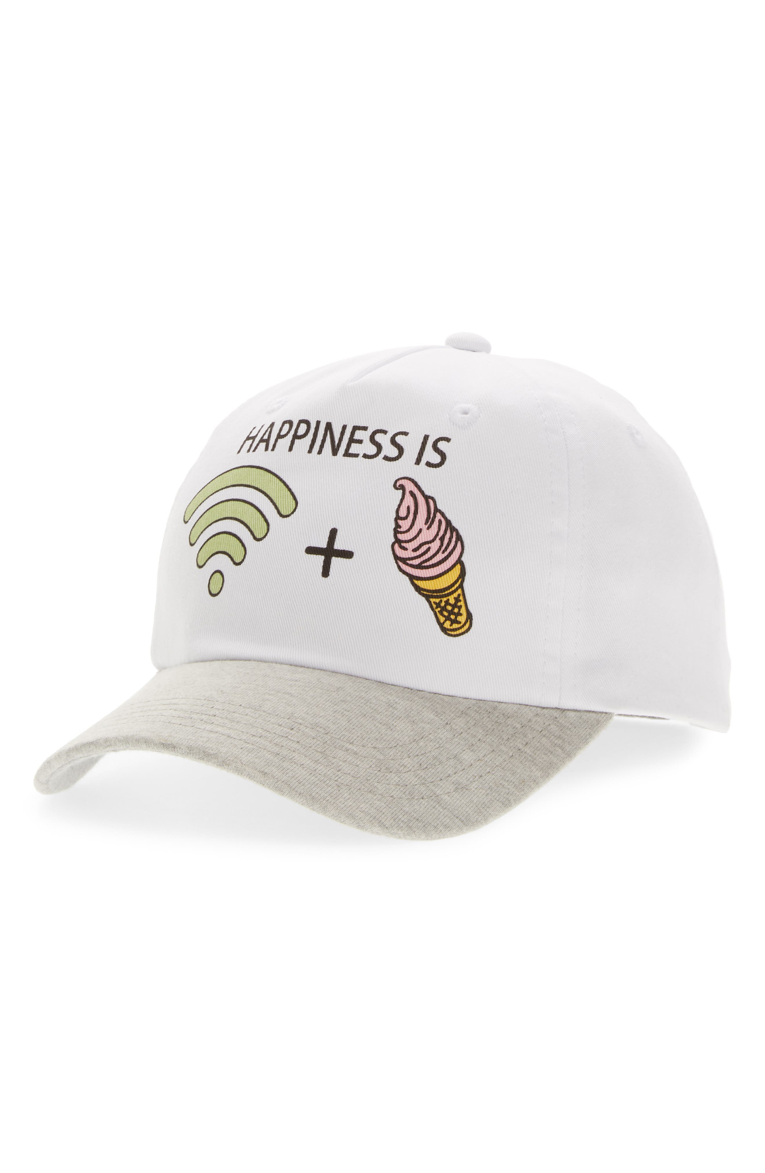 Accessory Collective Happiness Baseball Cap,                         Main,                         color, White