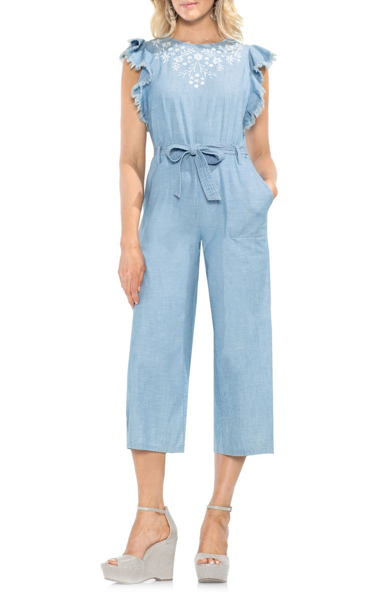 Chambray Frayed Ruffle Sleeve Jumpsuit