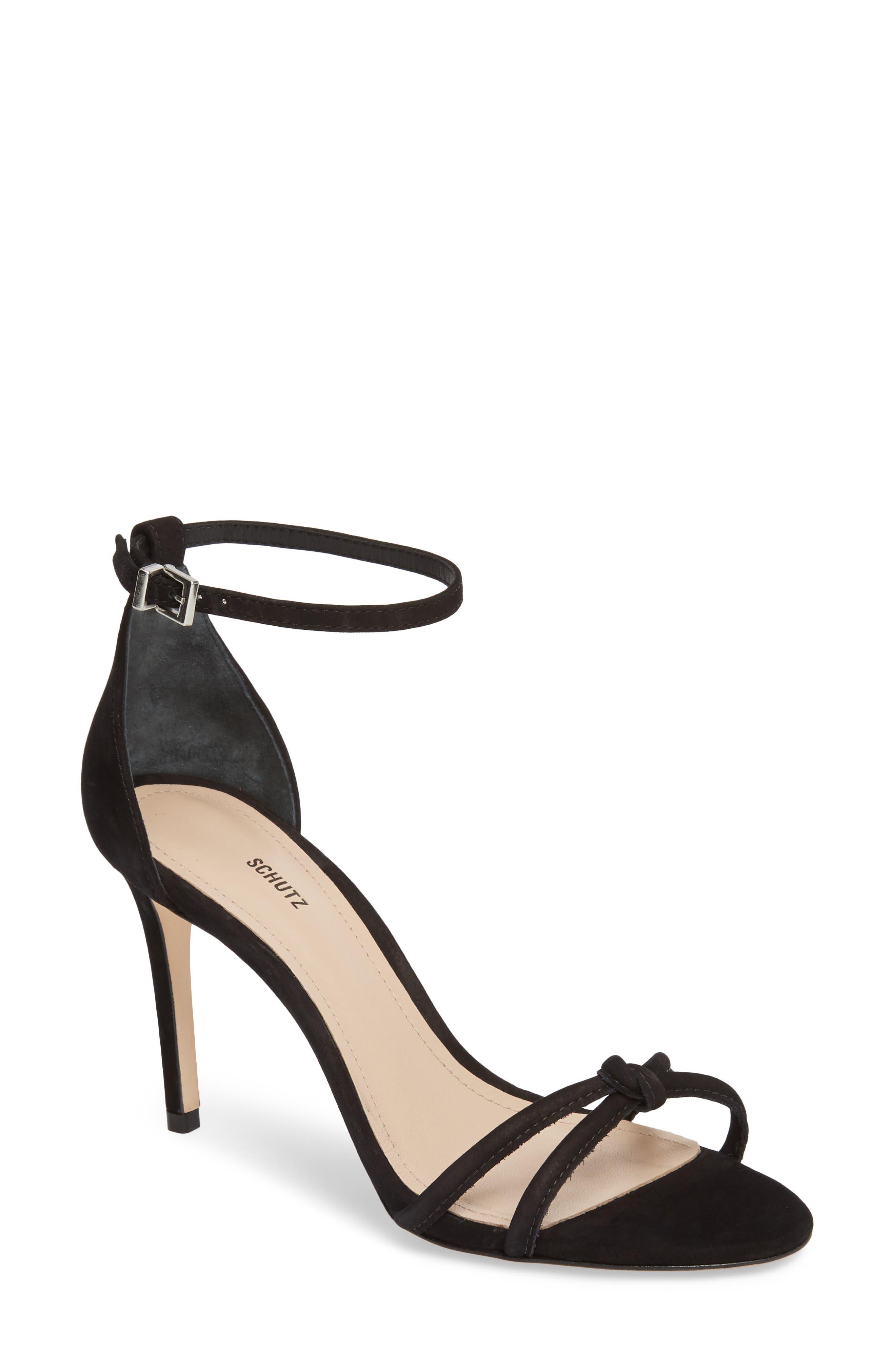 Rhana Ankle Strap Sandal,                             Main thumbnail 1, color,                             Black Leather