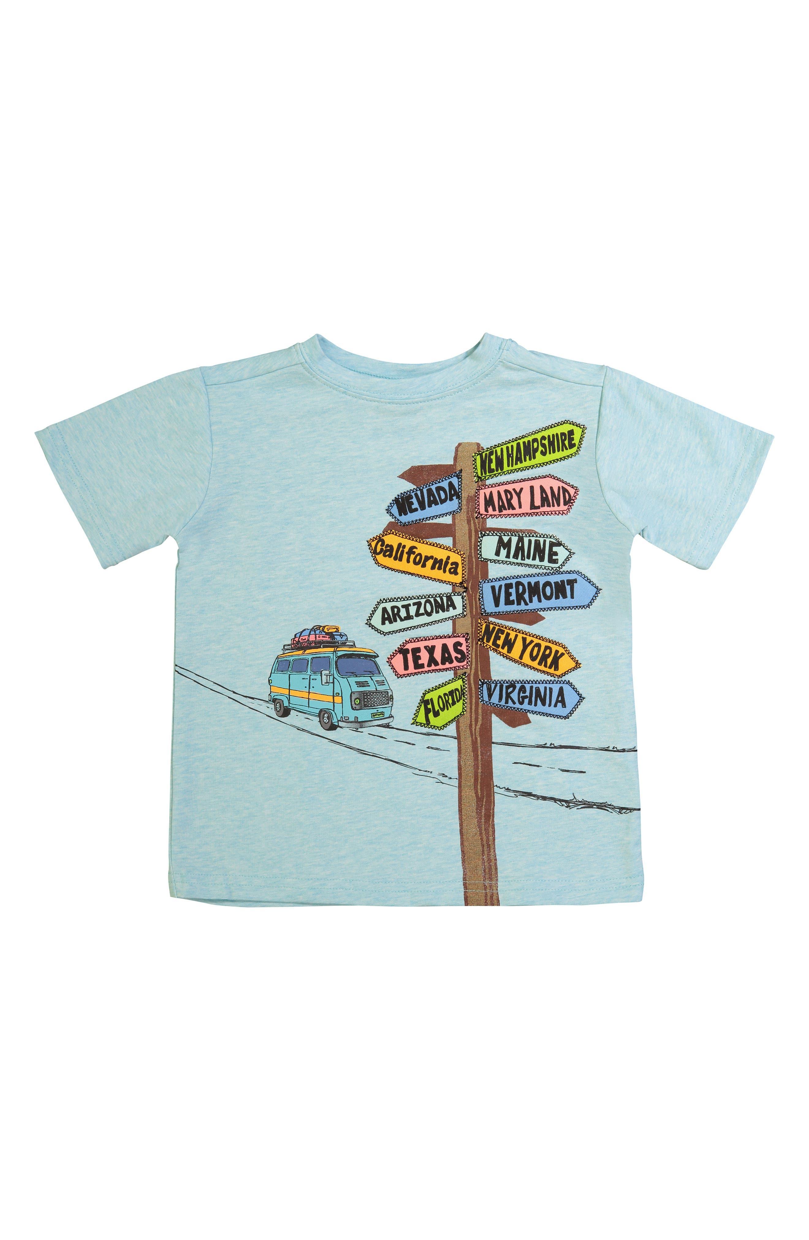 Road Sign Graphic T-Shirt,                             Main thumbnail 1, color,                             Aqua