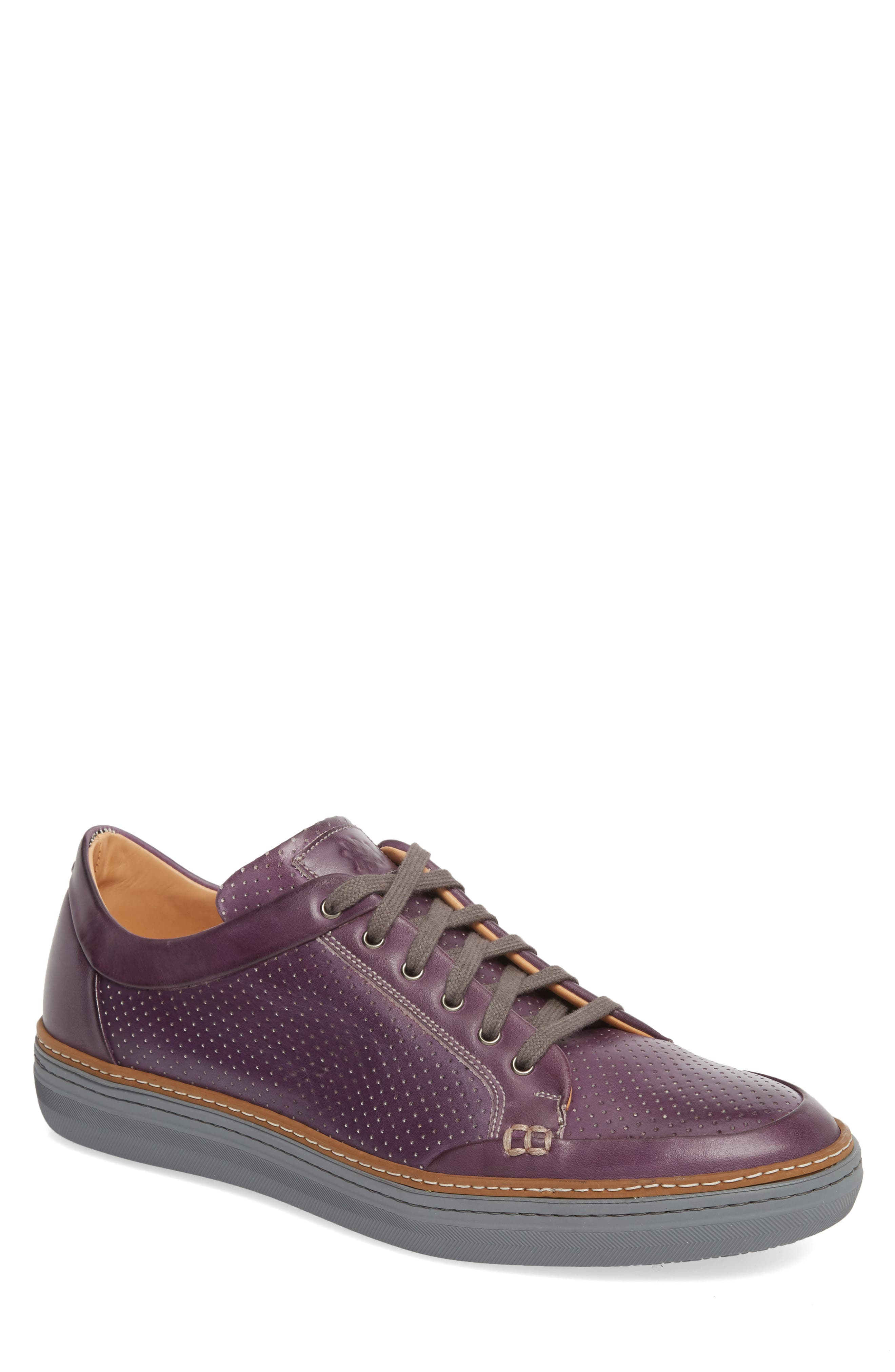 Ceres Perforated Low Top Sneaker,                             Main thumbnail 1, color,                             Purple Leather