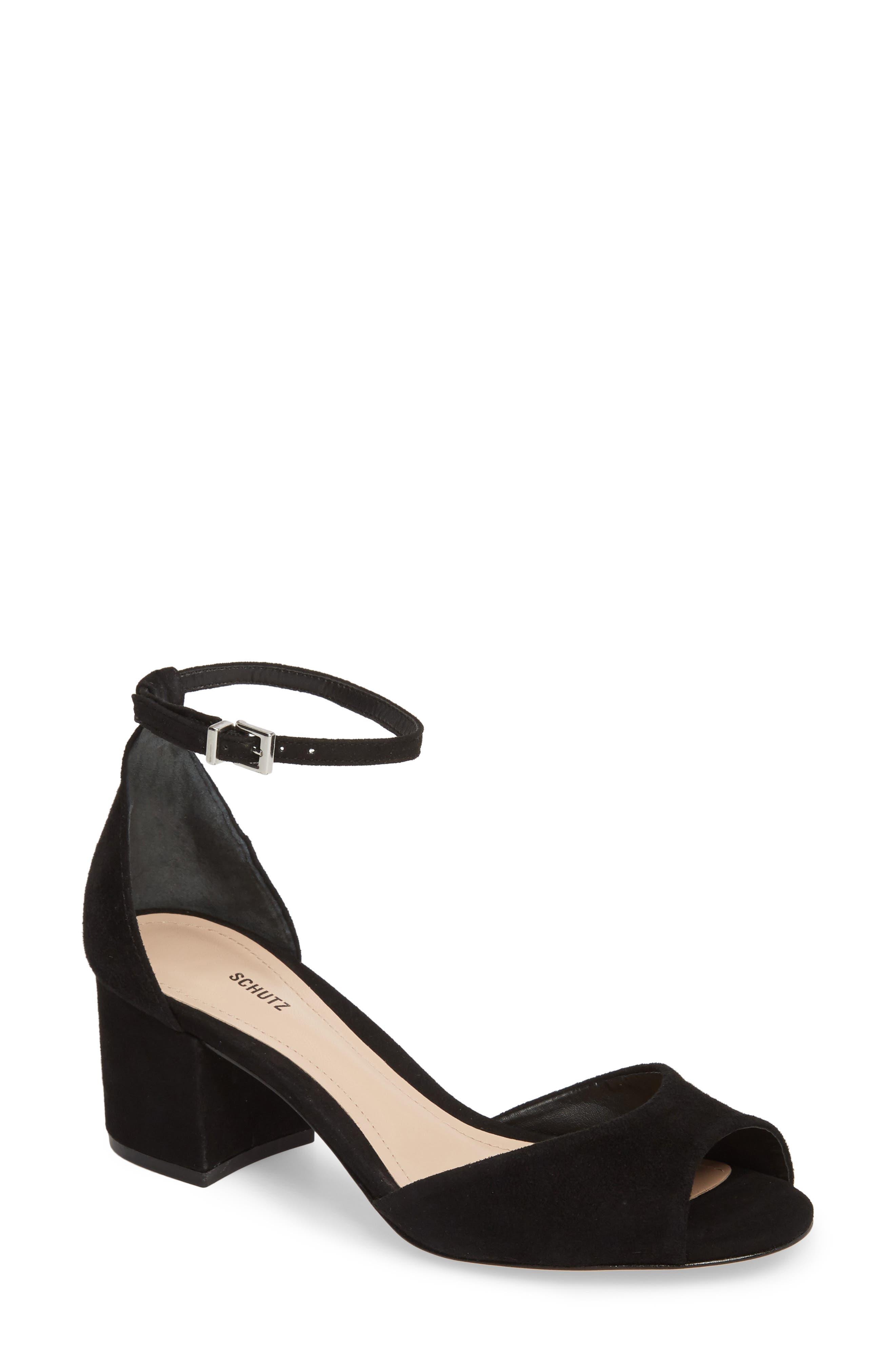 Roama Block Heel Sandal,                             Main thumbnail 1, color,                             Black Suede