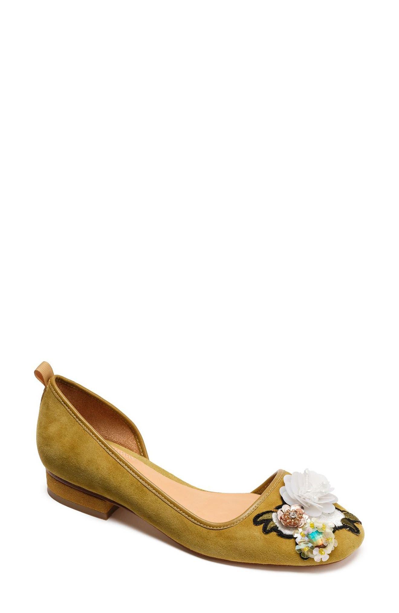 Bill Blass Lola Flower Embellished Half d'Orsay Flat (Women)