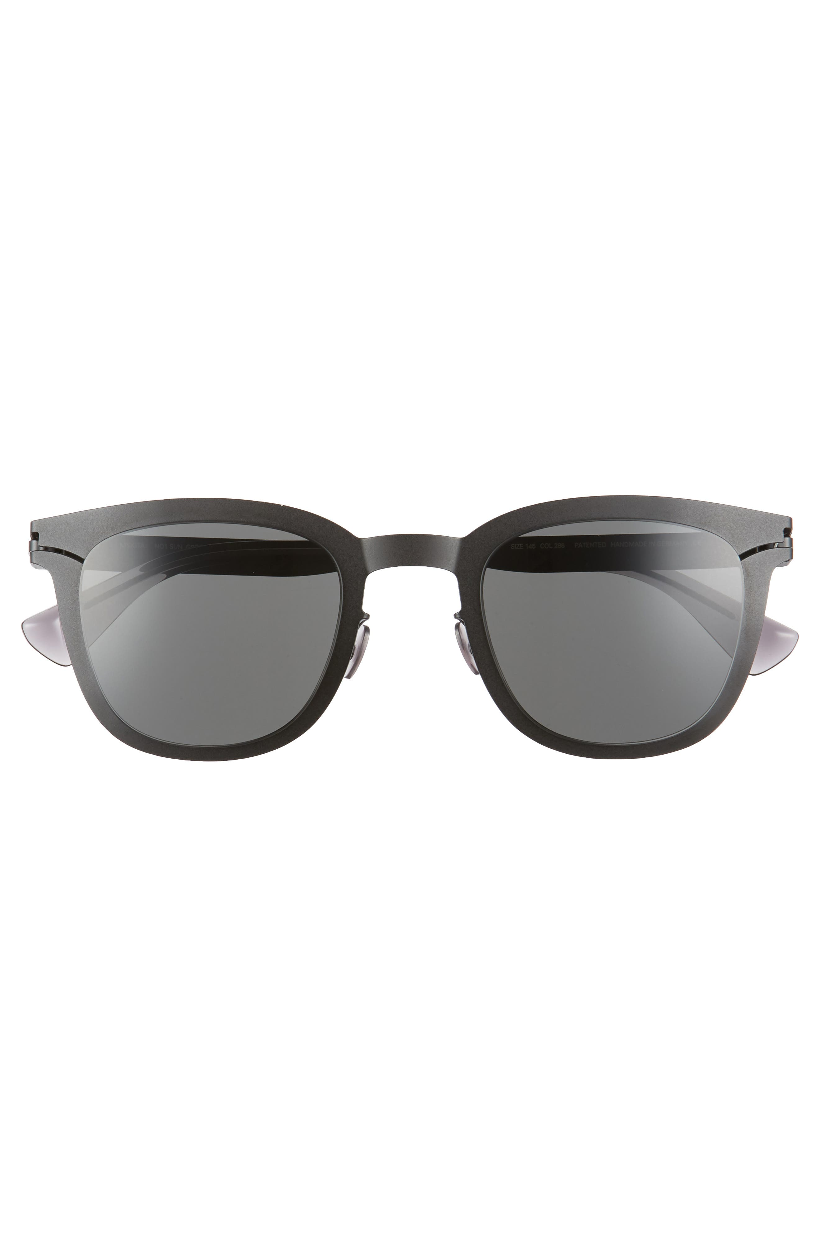 Gregory 49mm Sunglasses,                             Alternate thumbnail 2, color,                             Matte Black
