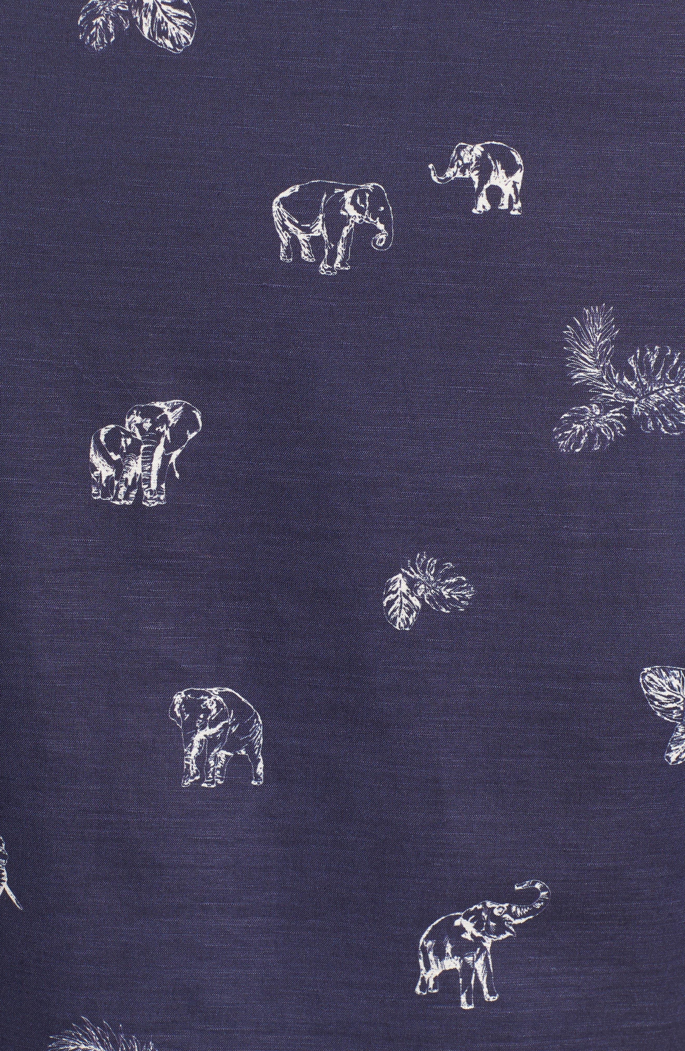Sanctuary Trim Fit Linen & Cotton Camp Shirt,                             Alternate thumbnail 3, color,                             Navy