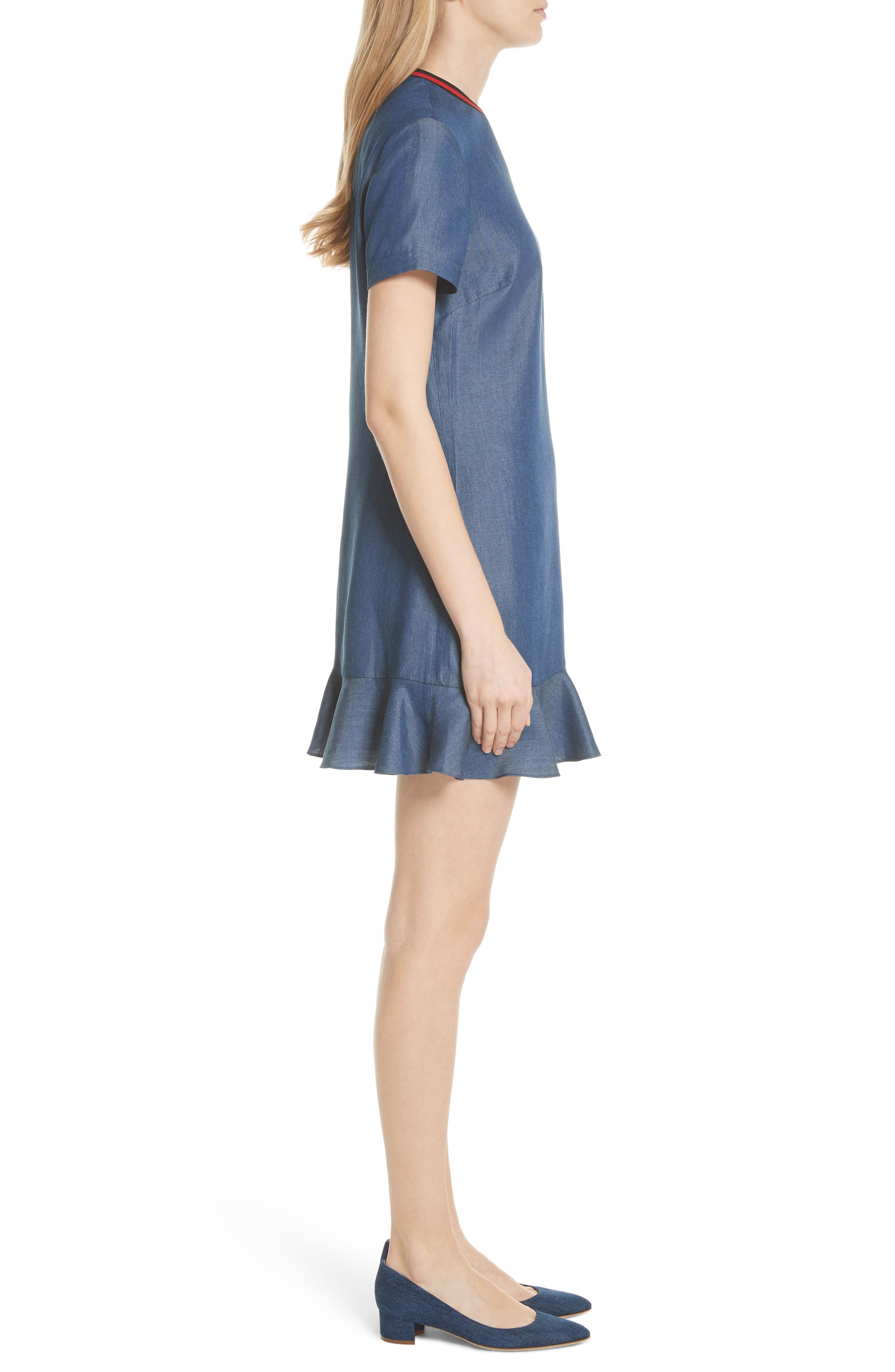 Colour by Numbers Denim Dress,                             Alternate thumbnail 3, color,                             Mid-Wash