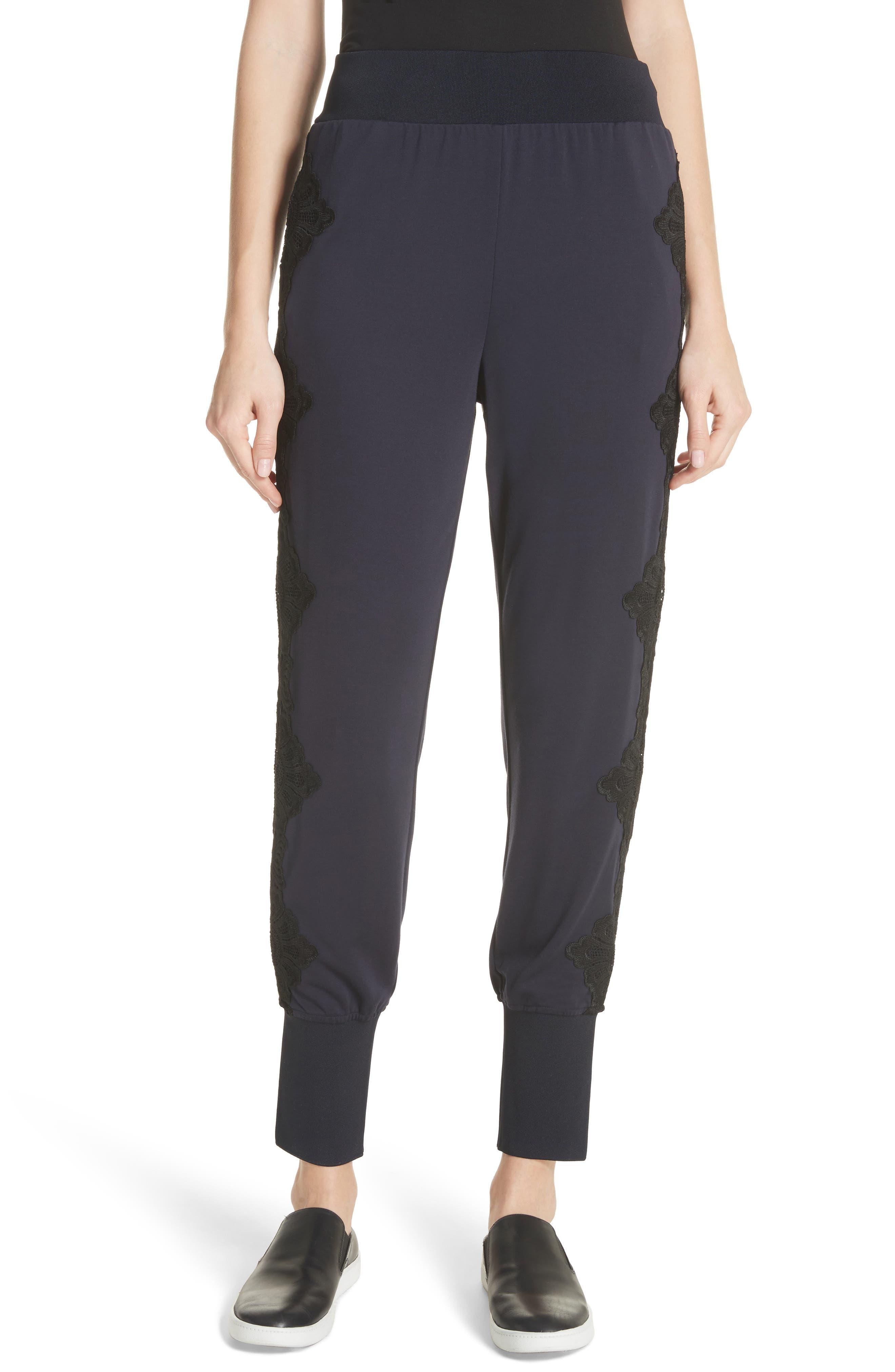 Lizeeba Lace Trim Jogger Pants,                             Main thumbnail 1, color,                             Navy