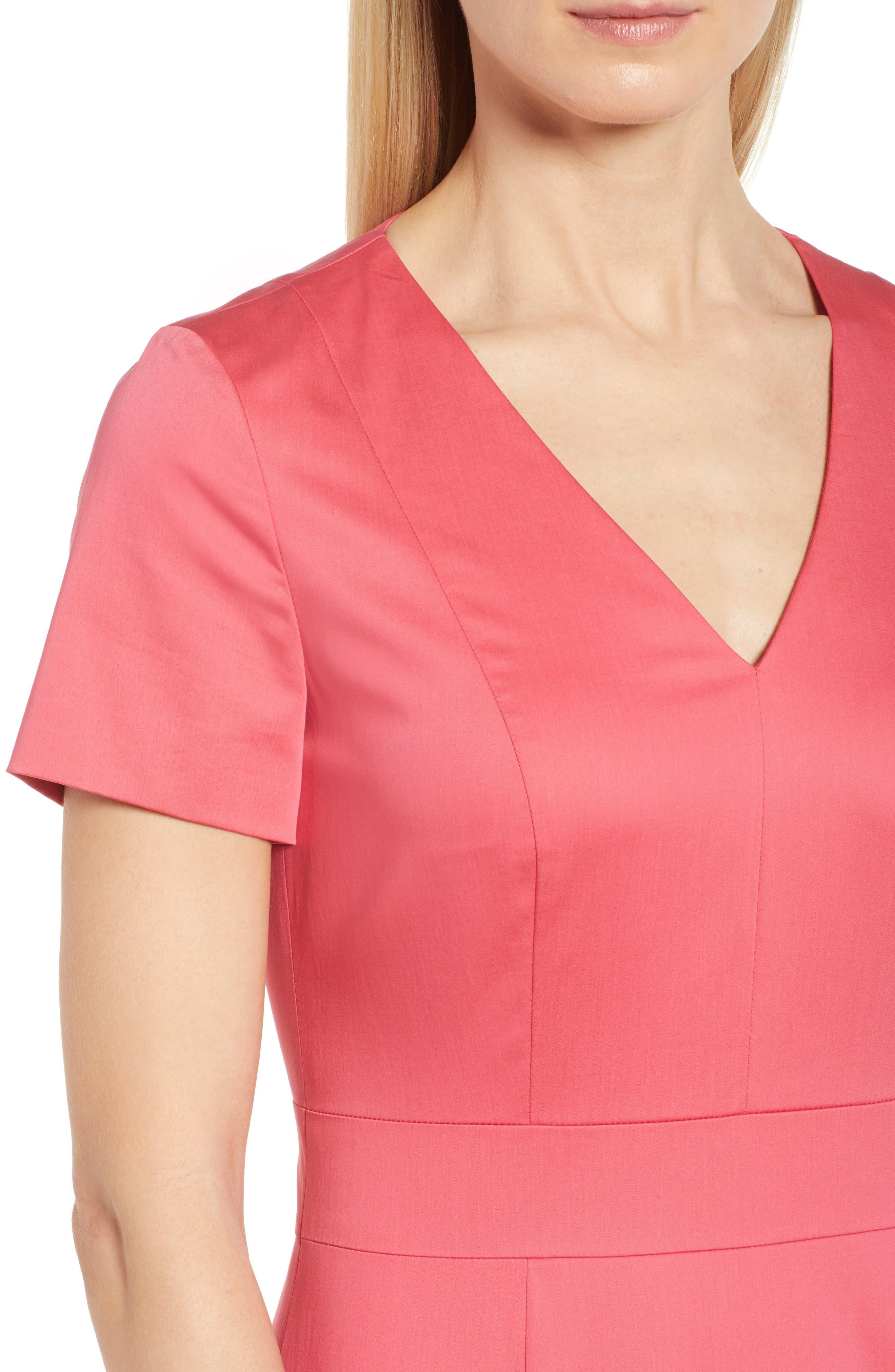 Dasali V-Neck Sheath Dress,                             Alternate thumbnail 4, color,                             Lychee Pink