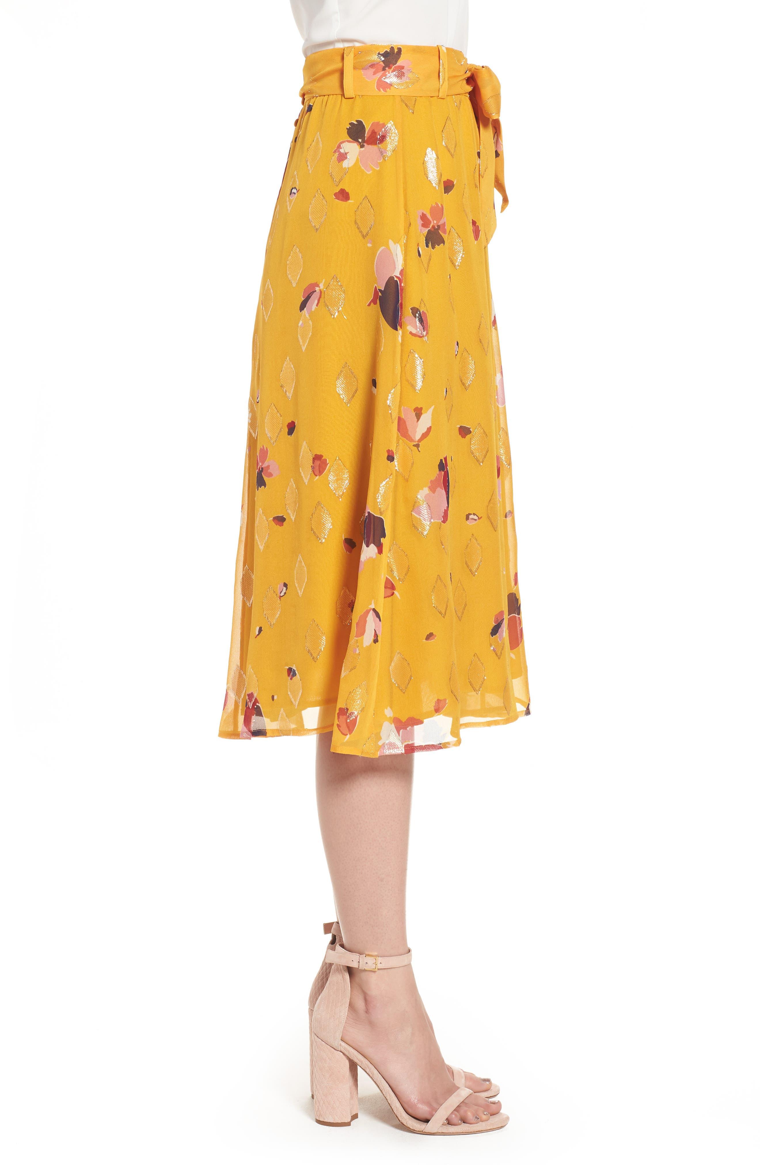 Arizona Floral & Metallic Silk Blend Skirt,                             Alternate thumbnail 4, color,                             Big Flowers 60S On Saffron