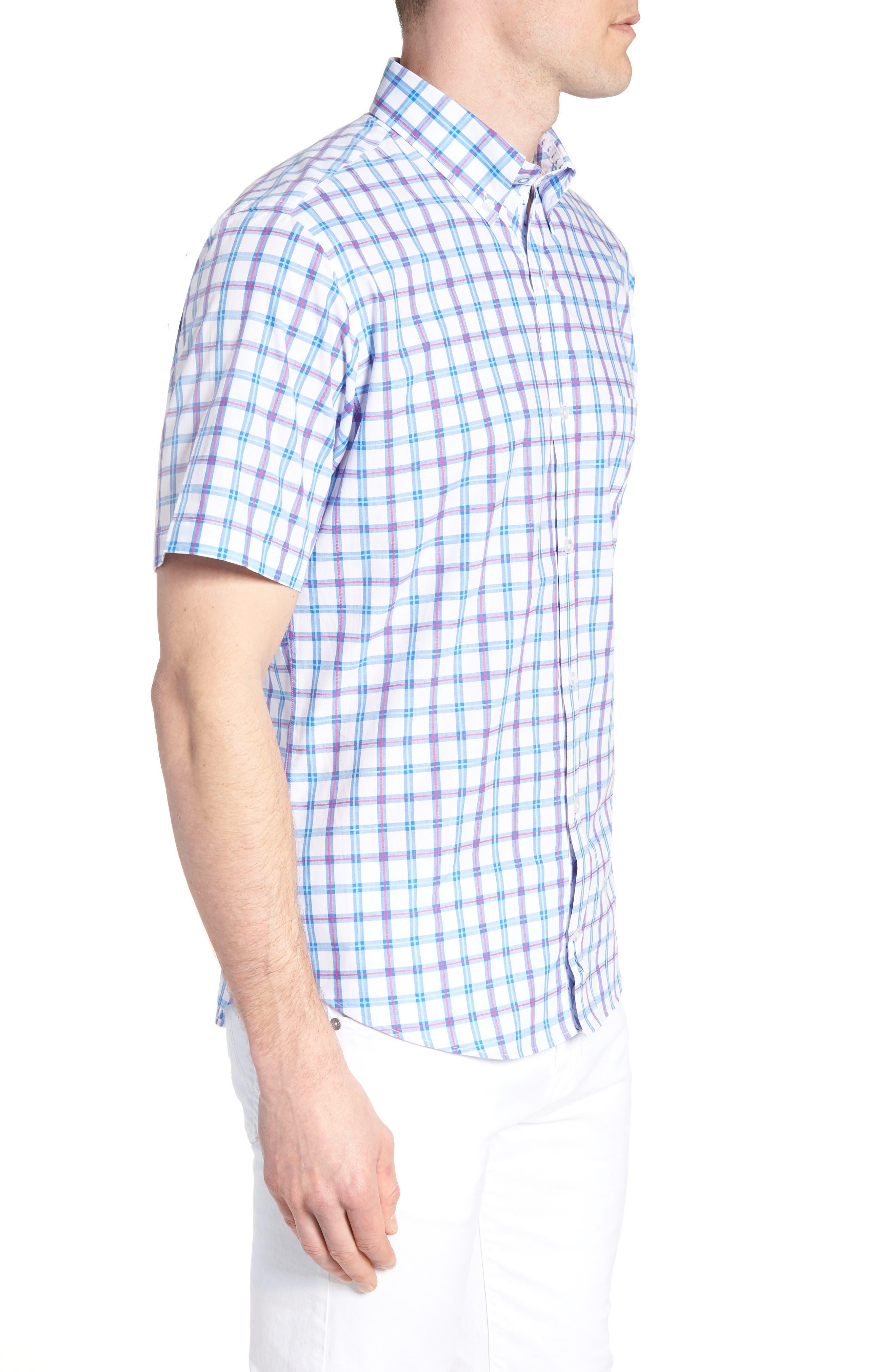Arman Regular Fit Windowpane Sport Shirt,                             Alternate thumbnail 4, color,                             Light Blue