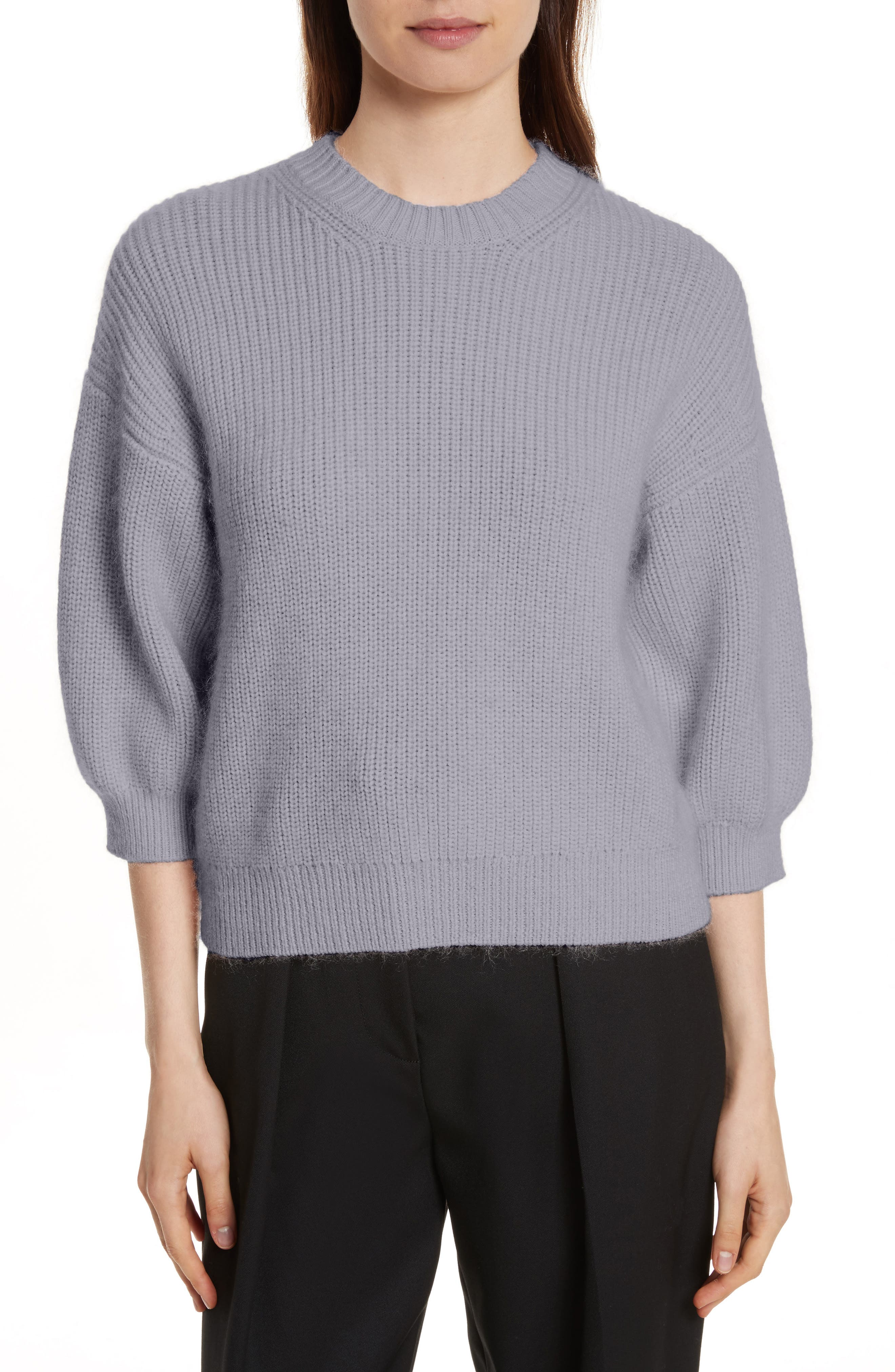 Puff Sleeve Wool & Mohair Blend Sweater,                             Main thumbnail 1, color,                             Charcoal