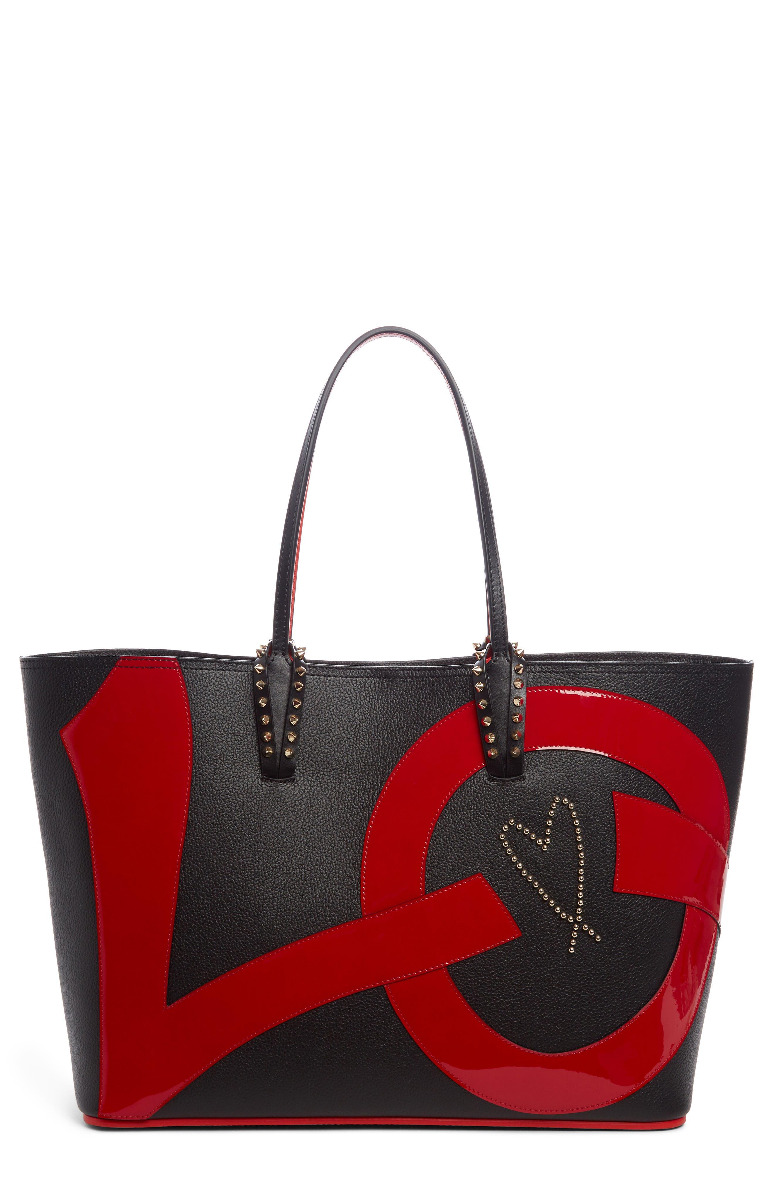 Cabata Love Embellished Leather Tote,                         Main,                         color, Black/ Black/ Red