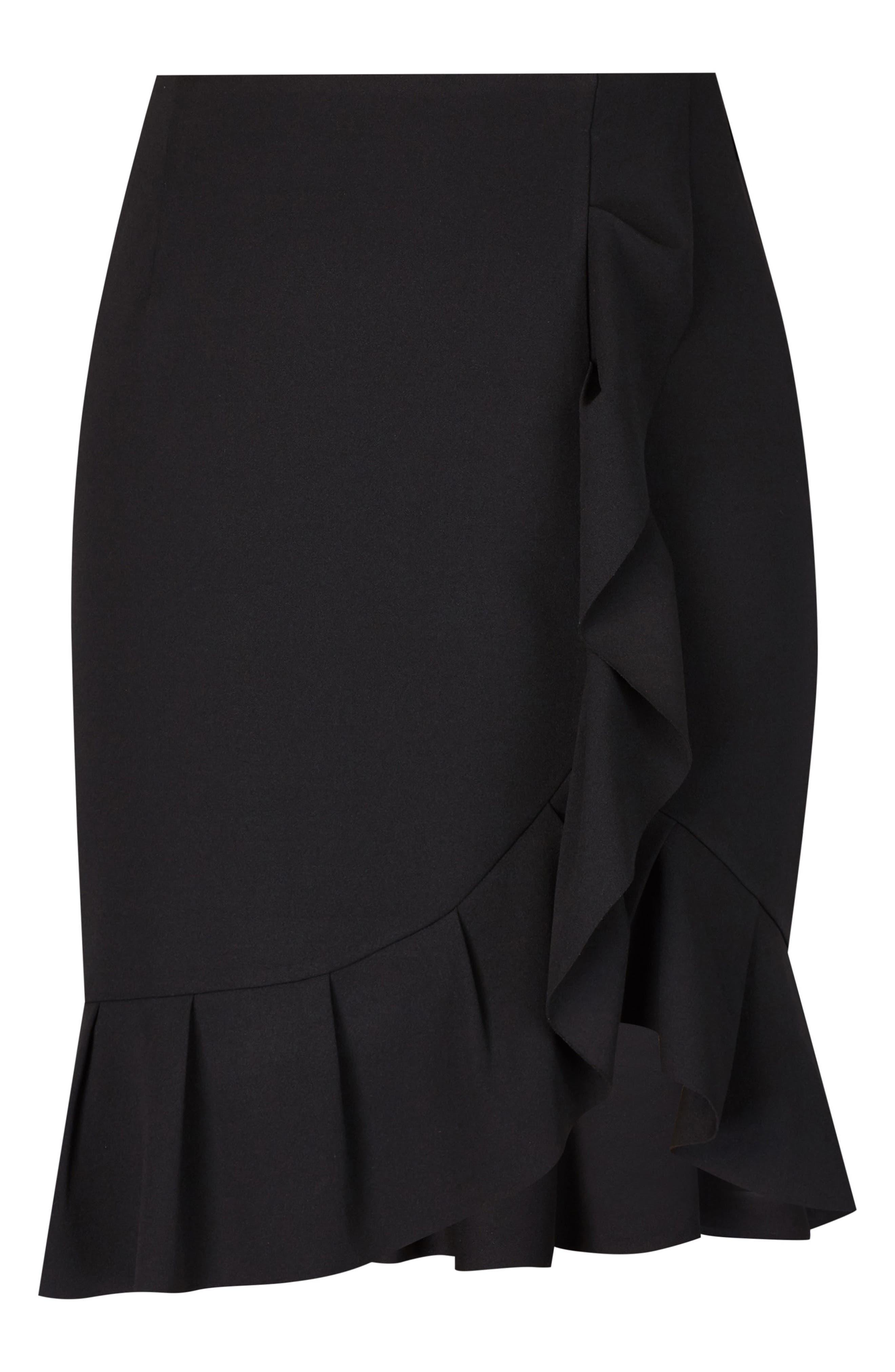 Ruffle Faux Wrap Skirt,                             Alternate thumbnail 3, color,                             Black