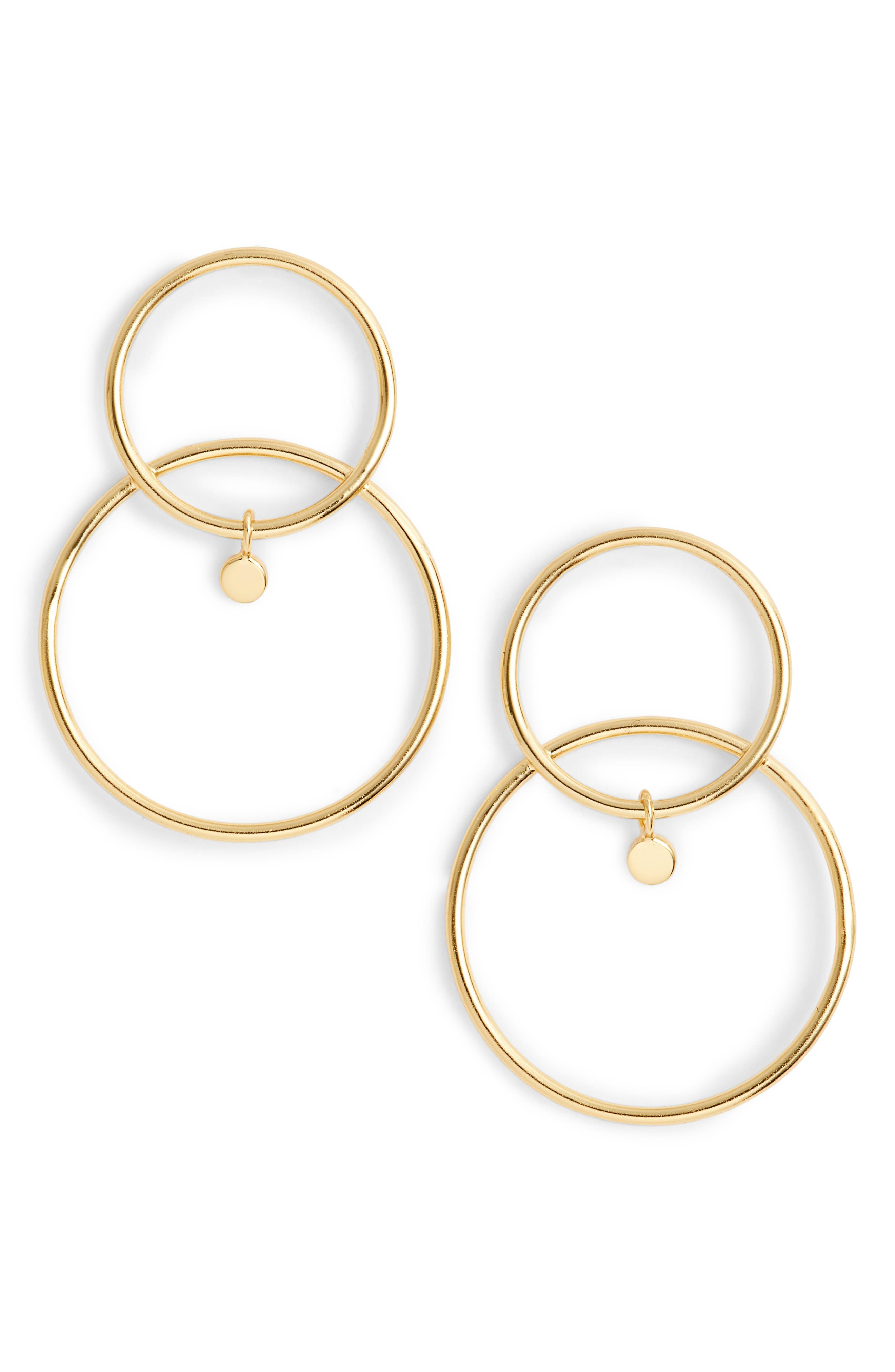 Double Open Ring Drop Earrings,                             Main thumbnail 1, color,                             Gold