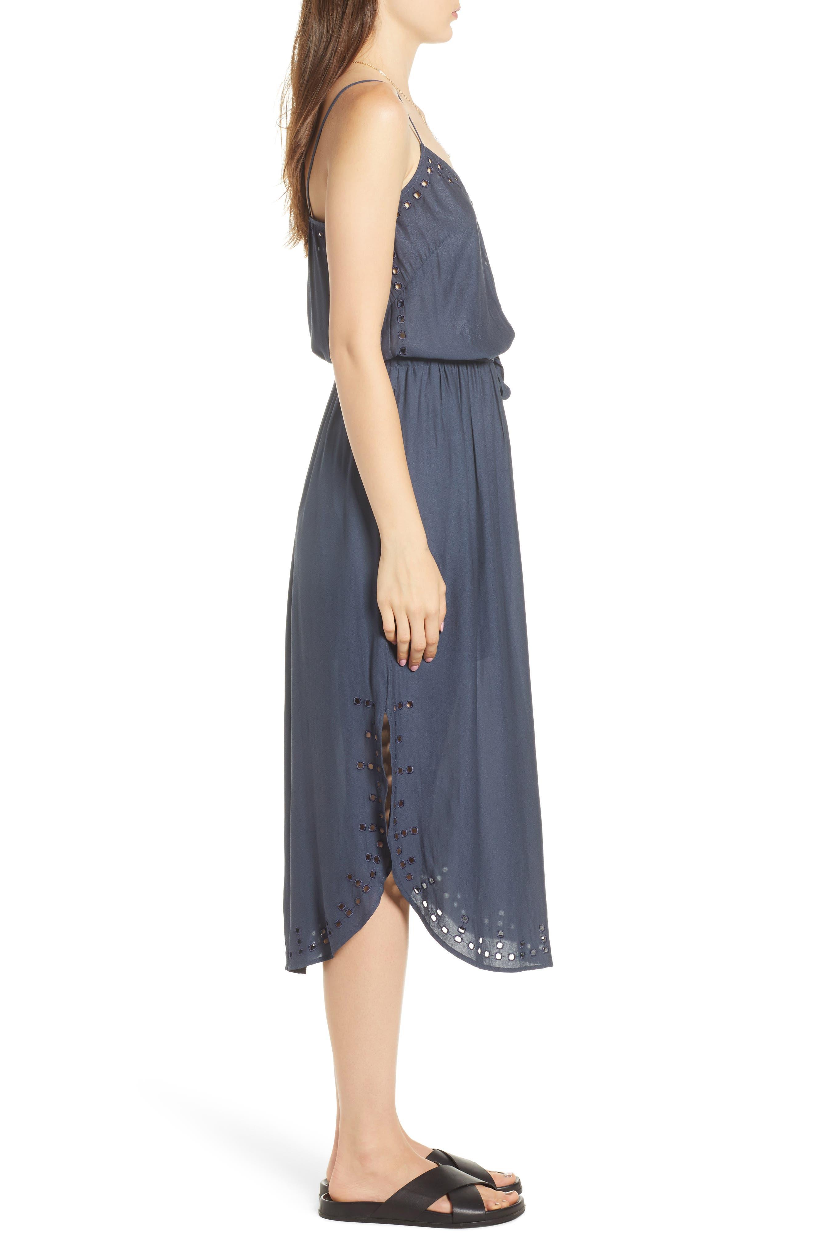 Strappy Cutout Midi Dress,                             Alternate thumbnail 3, color,                             Night