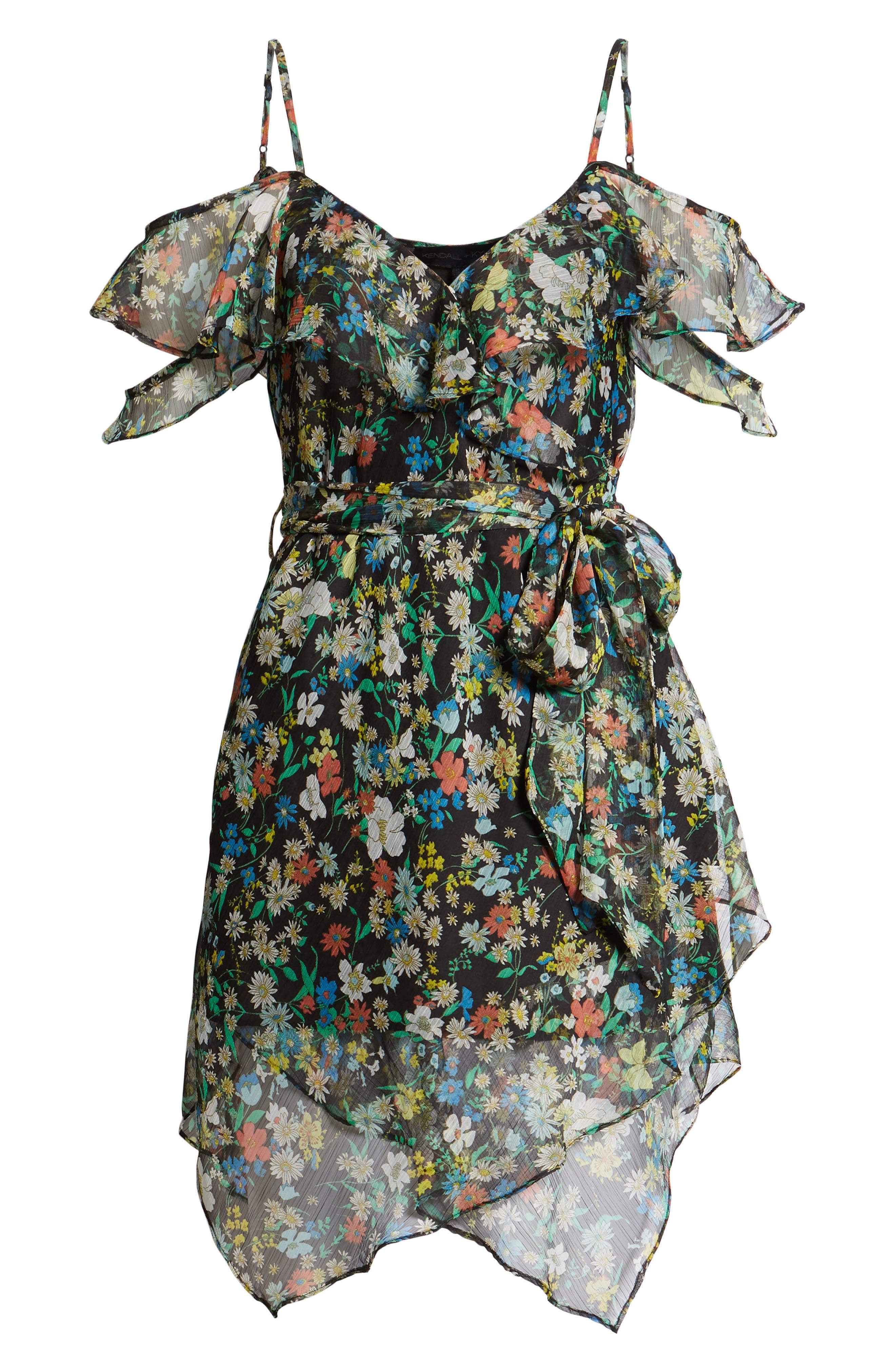 Alternate Image 6  - KENDALL + KYLIE Floral Ruffle Wrap Dress