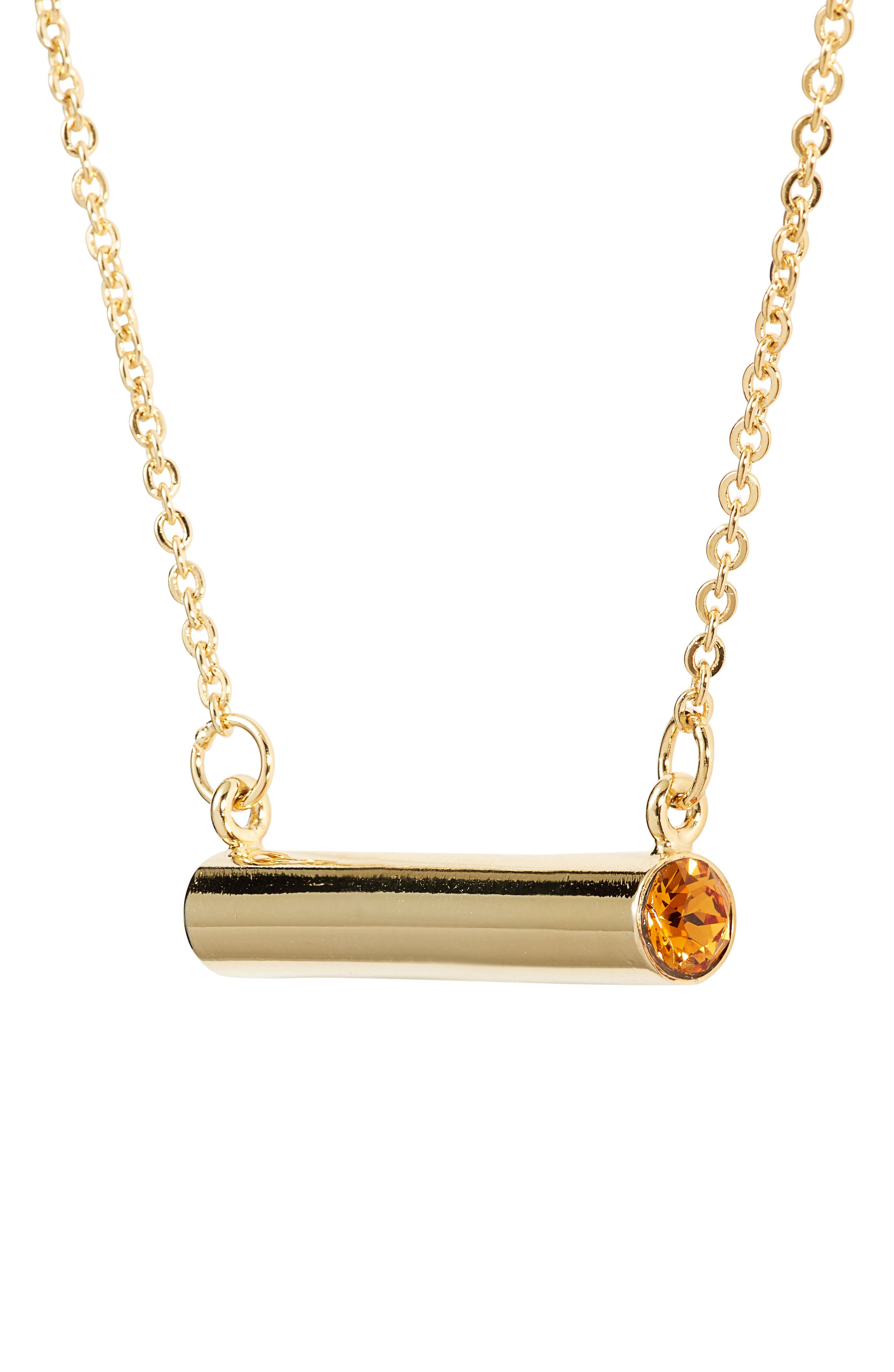 November Crystal Bar Pendant Necklace,                         Main,                         color, Gold