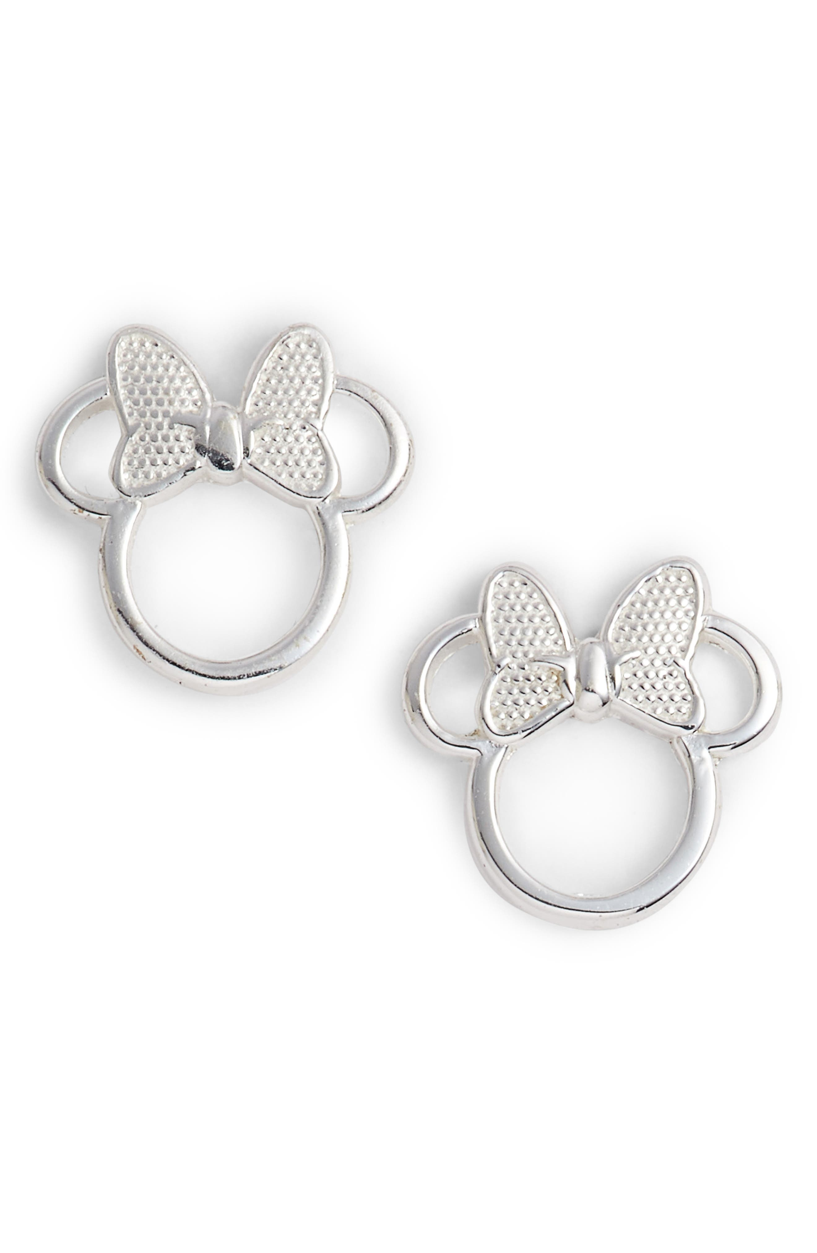 Minnie Mouse Stud Earrings,                         Main,                         color, Silver
