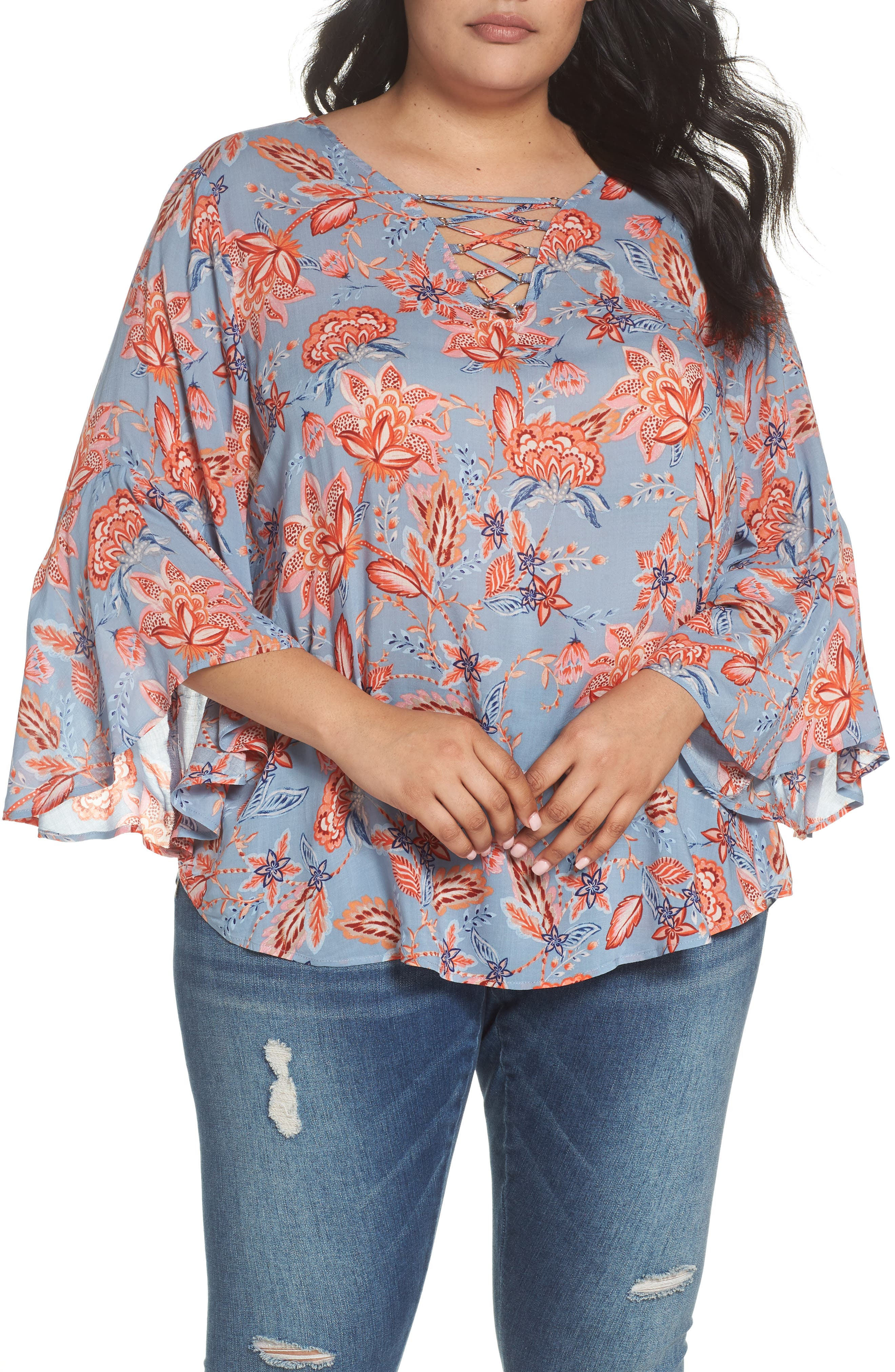 Wit & Wisdom Lace Up Floral Top (Plus Size) (Nordstrom Exclusive)