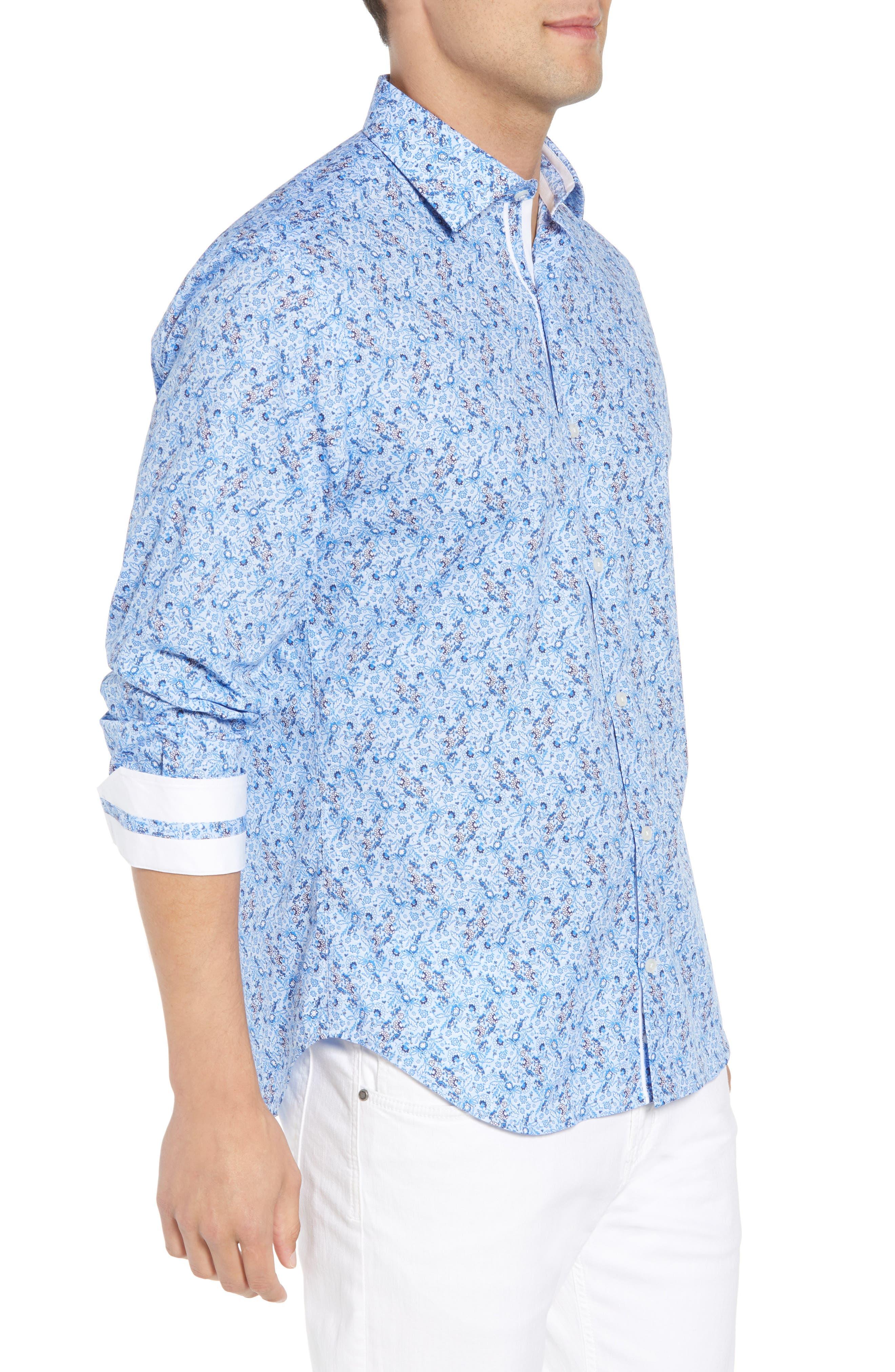 Stewart Regular Fit Floral Sport Shirt,                             Alternate thumbnail 4, color,                             Blue
