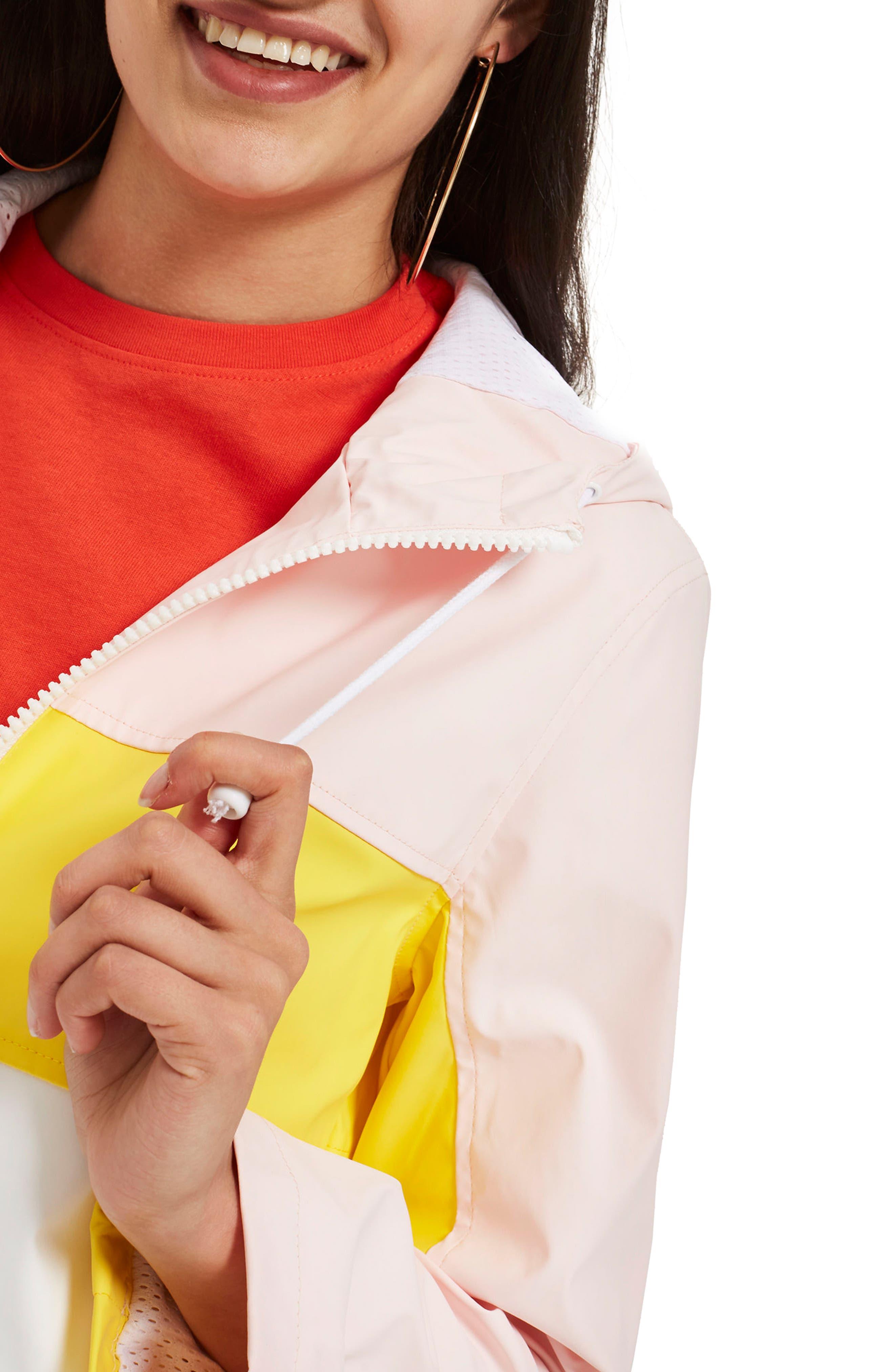 Colorblock Rain Mac Jacket,                             Alternate thumbnail 3, color,                             Pink Multi
