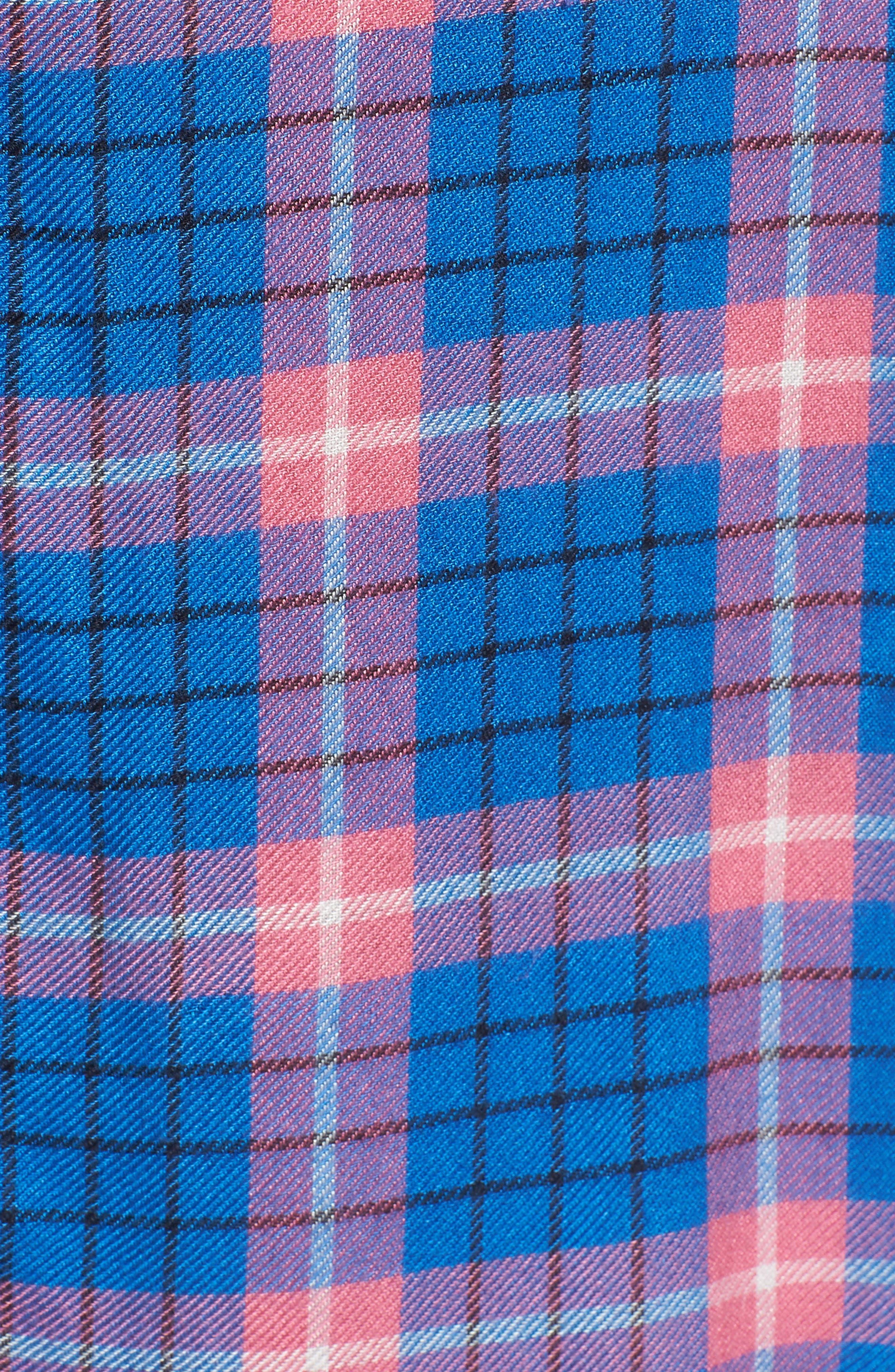 Flannel Woven Shirt,                             Alternate thumbnail 5, color,                             Blue Camp Pink Beck Plaid