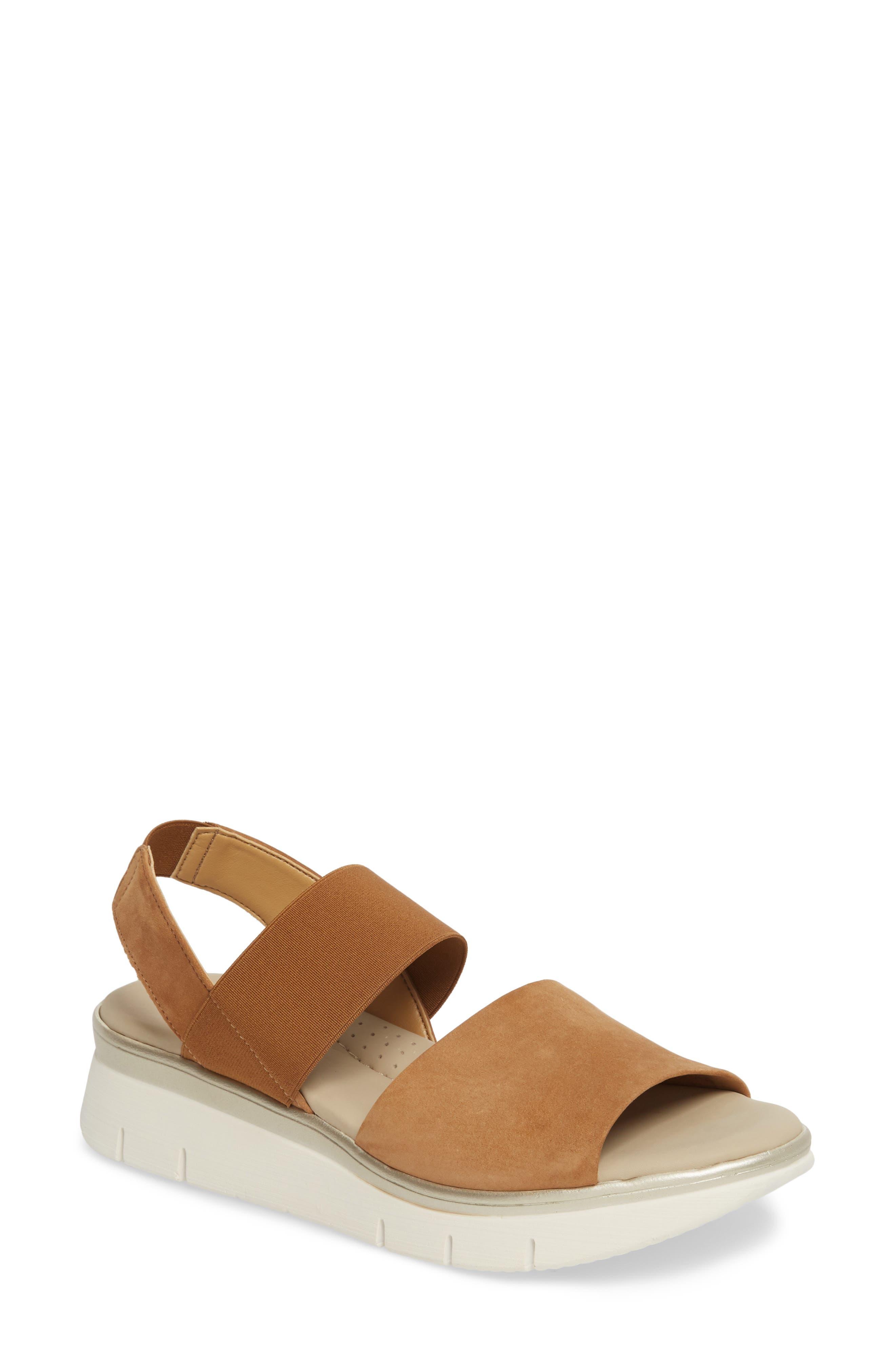 Cushy Sandal,                         Main,                         color, Cognac Nubuck