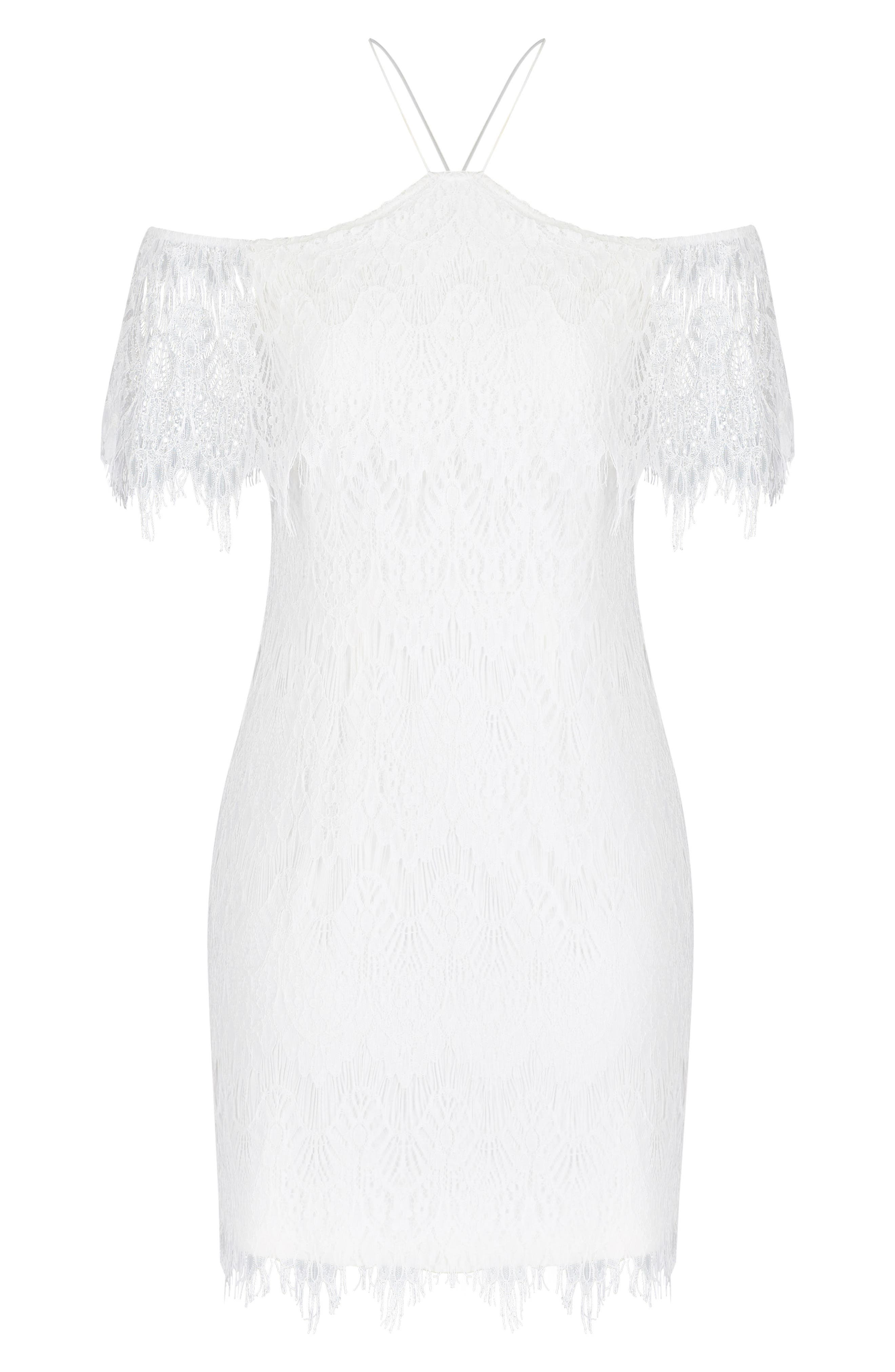 Lace Devotion Off the Shoulder Minidress,                             Alternate thumbnail 3, color,                             Ivory
