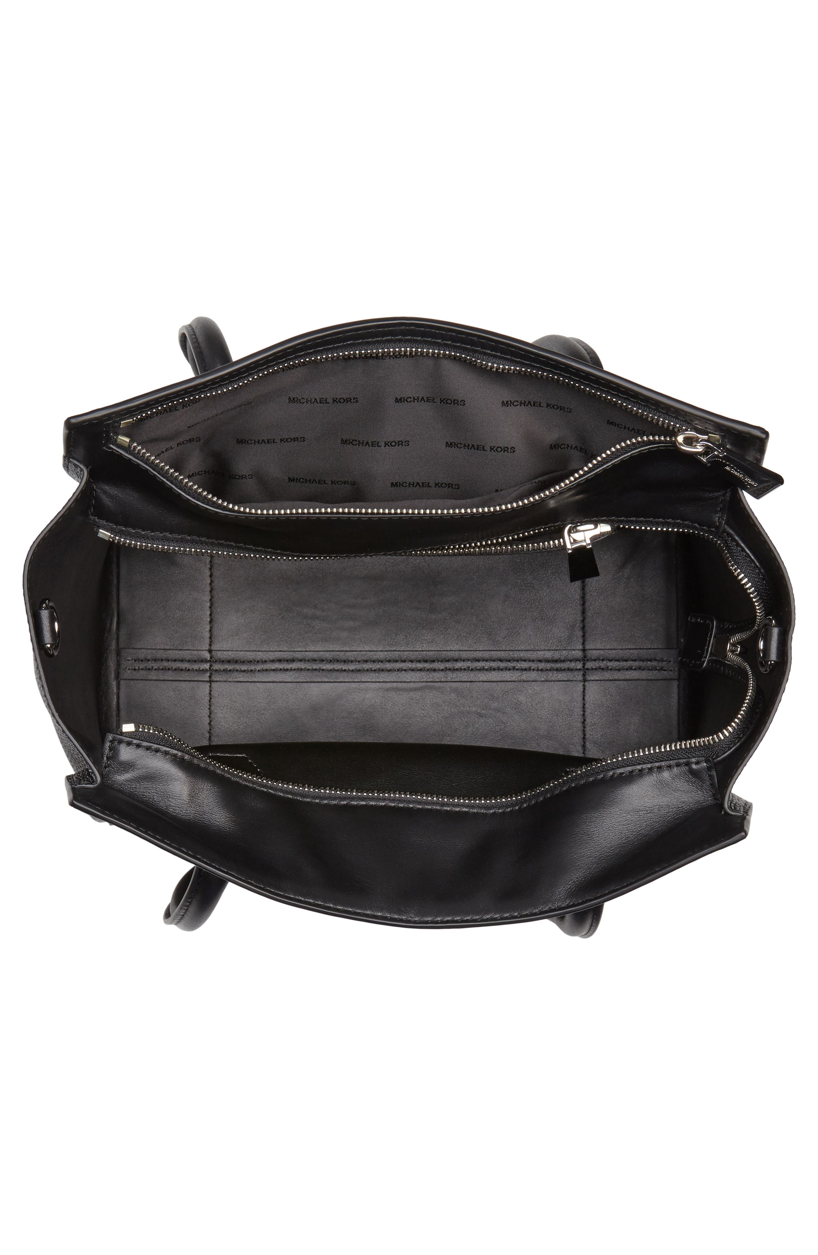 MICHAEL Michael Kors Mercer Studio Leather Tote,                             Alternate thumbnail 4, color,                             Black