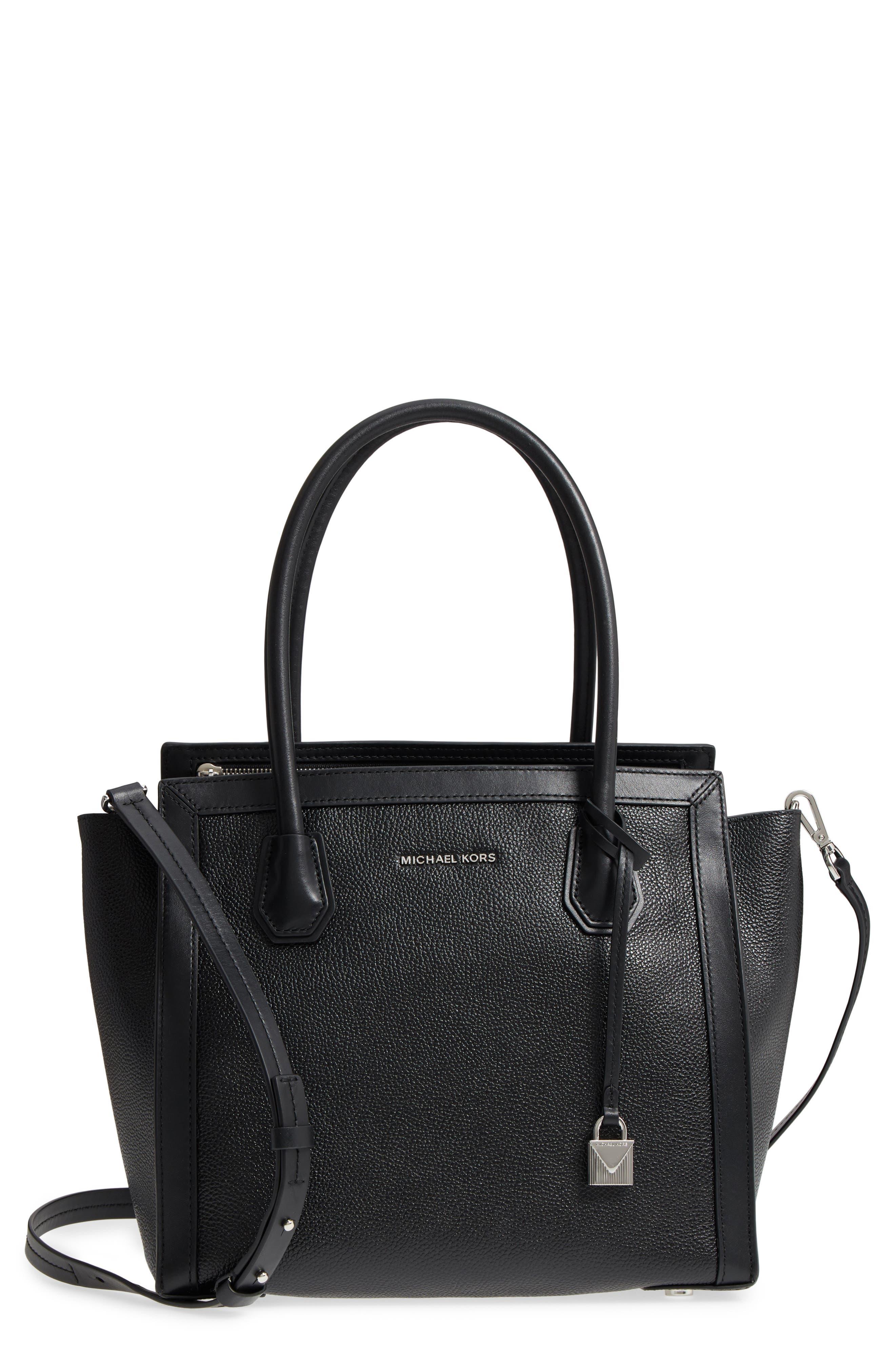MICHAEL Michael Kors Mercer Studio Leather Tote,                         Main,                         color, Black