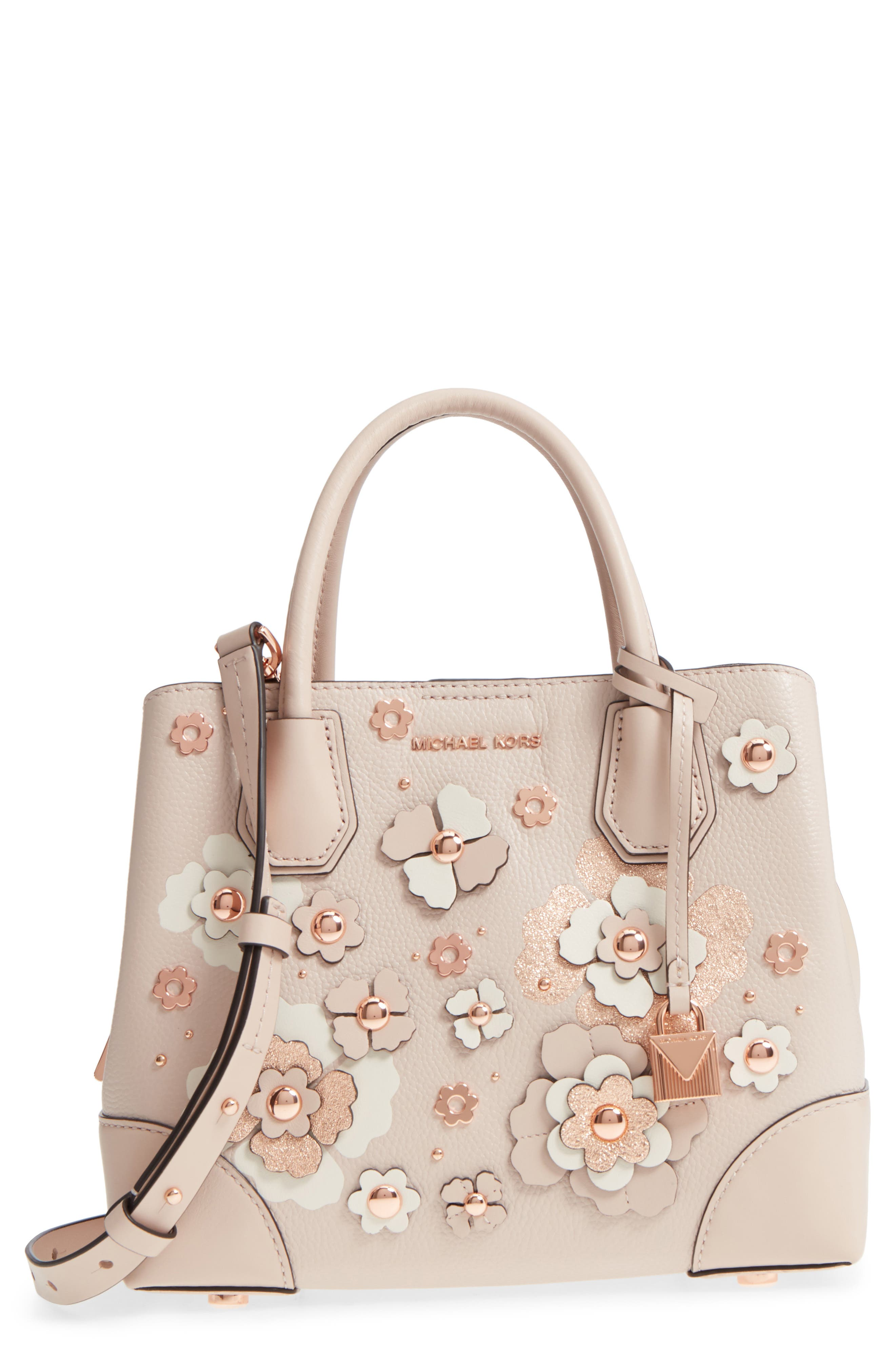 Small Mercer Gallery Leather Satchel,                             Main thumbnail 1, color,                             Soft Pink Multi